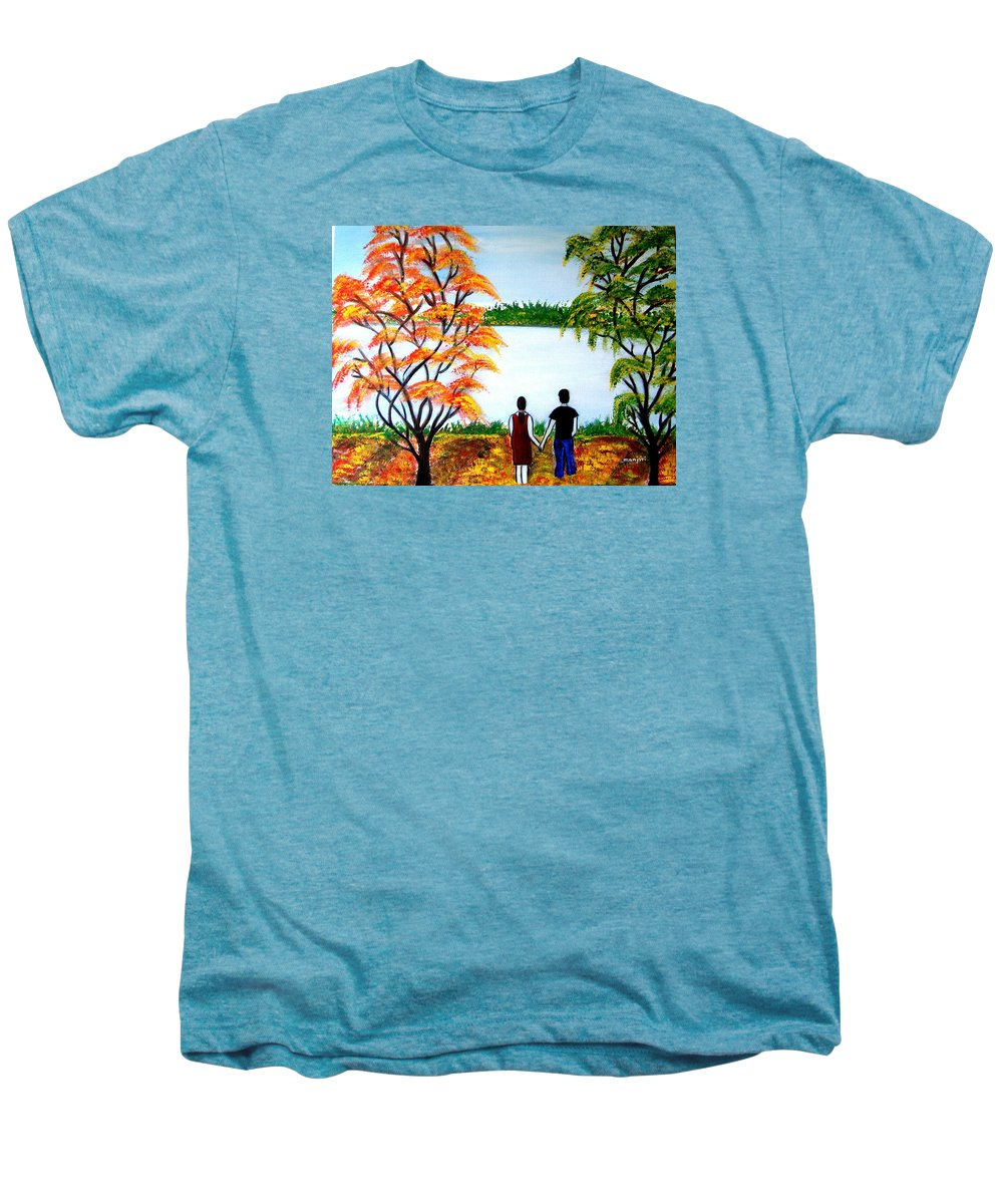 Romance Figures Autumn Orange Trees Green Pop Water Lake Love Valentine Yellow Lake Spring Bloom Men's Premium T-Shirt featuring the painting Romance In Autumn by Manjiri Kanvinde