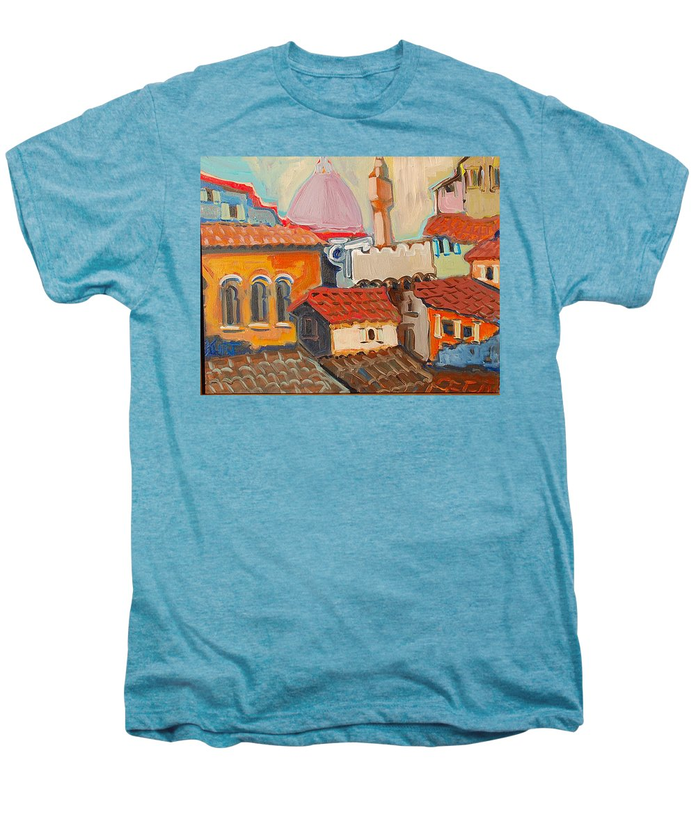 Florence Men's Premium T-Shirt featuring the painting Rooftops by Kurt Hausmann