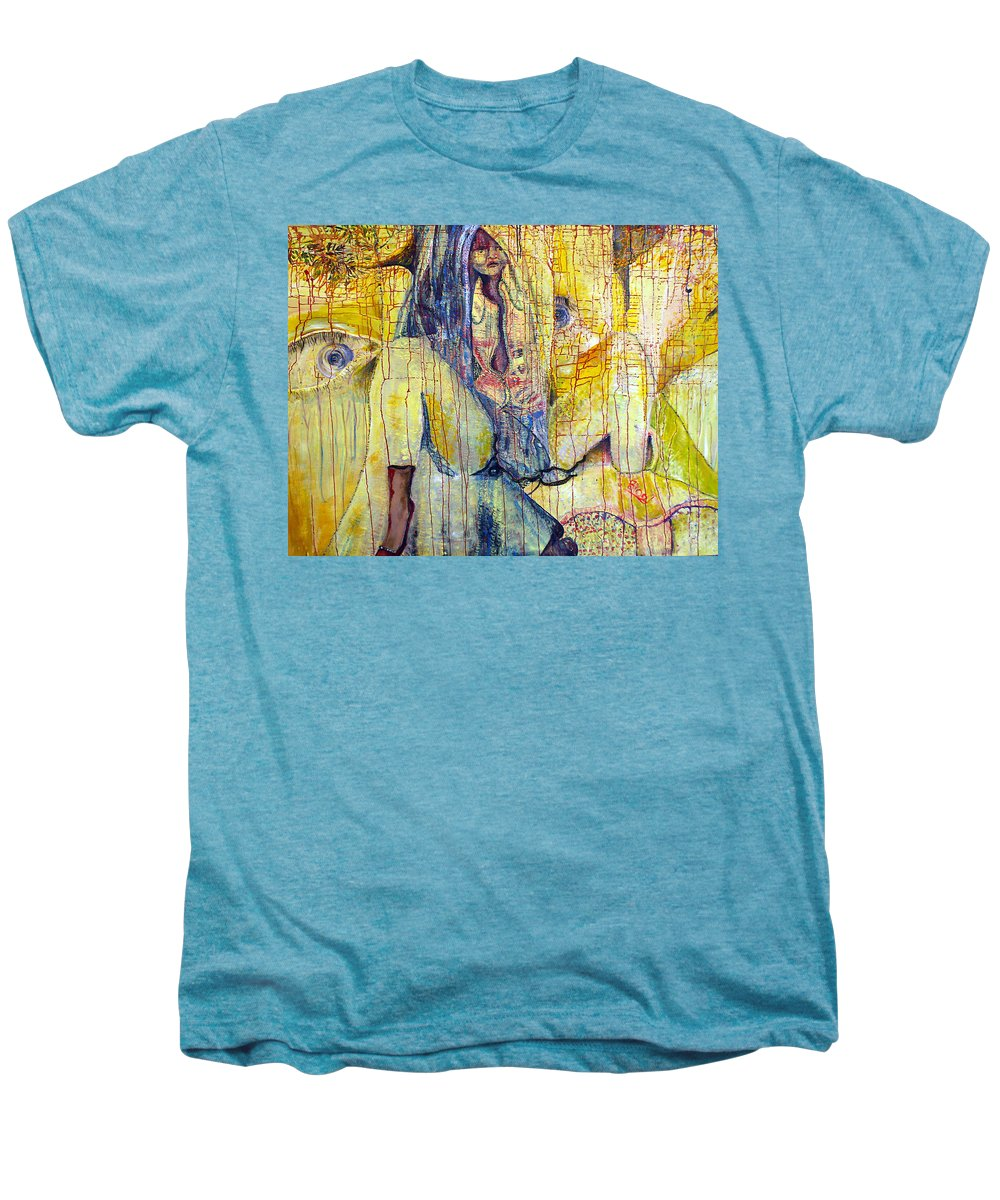 Portrait Men's Premium T-Shirt featuring the painting Roots by Peggy Blood