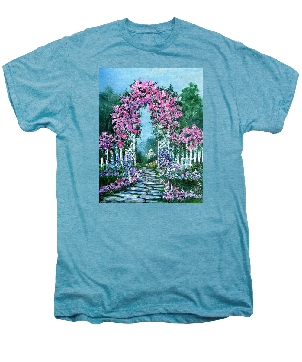 Roses;floral;garden;picket Fence;arch;trellis;garden Walk;flower Garden; Men's Premium T-Shirt featuring the painting Rose-covered Trellis by Lois Mountz
