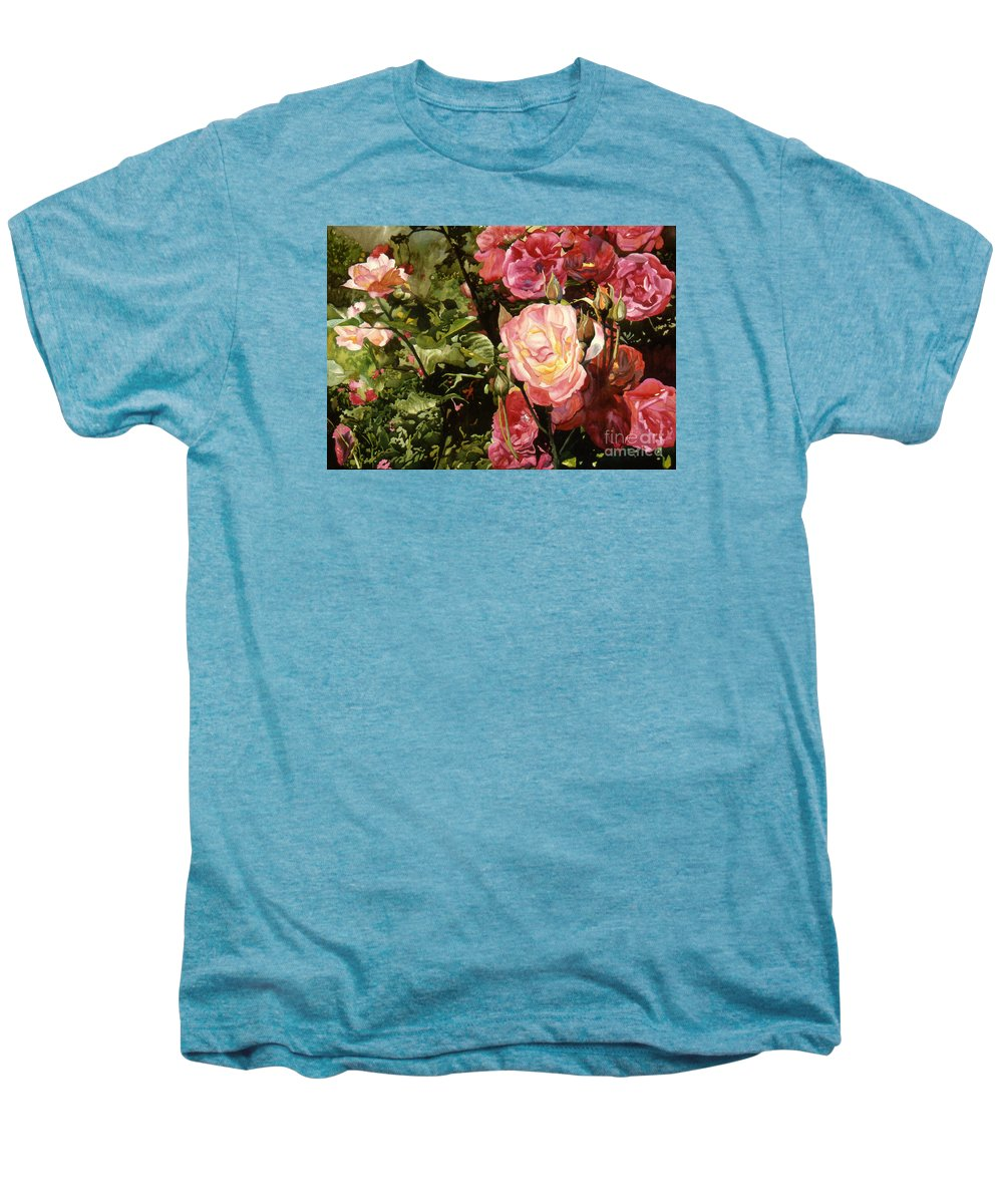 Watercolor Men's Premium T-Shirt featuring the painting Rose Garden by Teri Starkweather