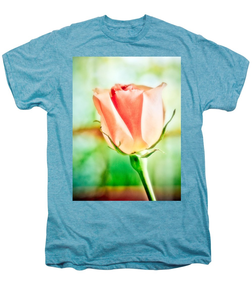 Rose Men's Premium T-Shirt featuring the photograph Rose In Window by Marilyn Hunt