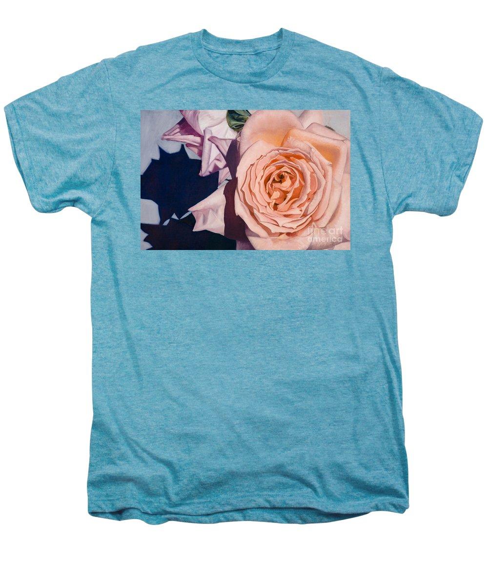 Roses Men's Premium T-Shirt featuring the painting Rose Splendour by Kerryn Madsen-Pietsch