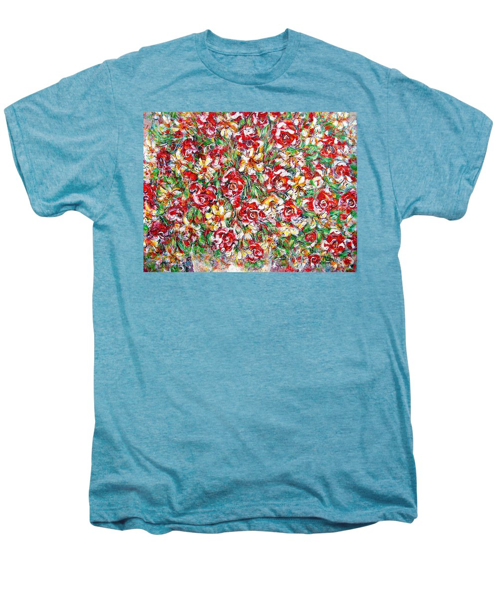 Red Roses Men's Premium T-Shirt featuring the painting Roses For You by Natalie Holland