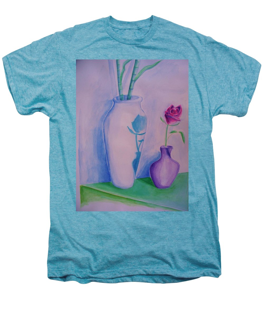 Red Rose Men's Premium T-Shirt featuring the painting Roses In Vase by Eric Schiabor