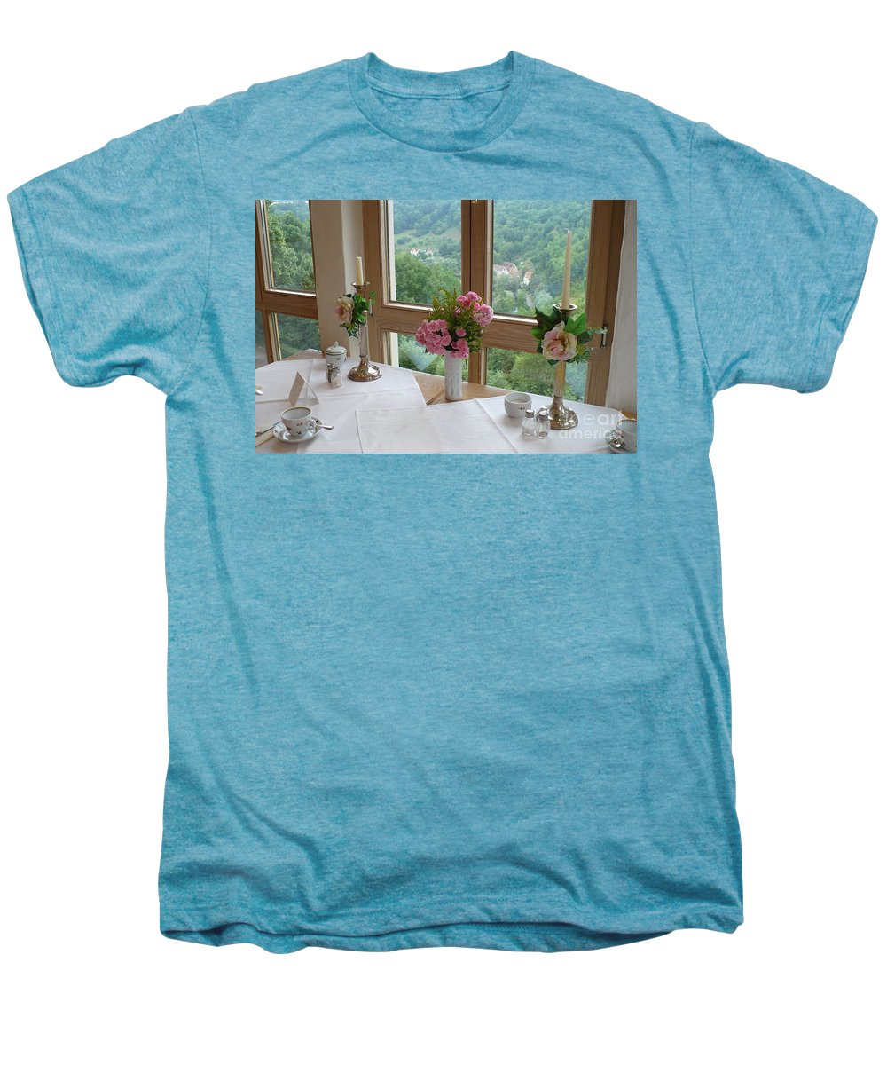 Rothenburg Men's Premium T-Shirt featuring the photograph Rothenburg Dining With A View by Carol Groenen
