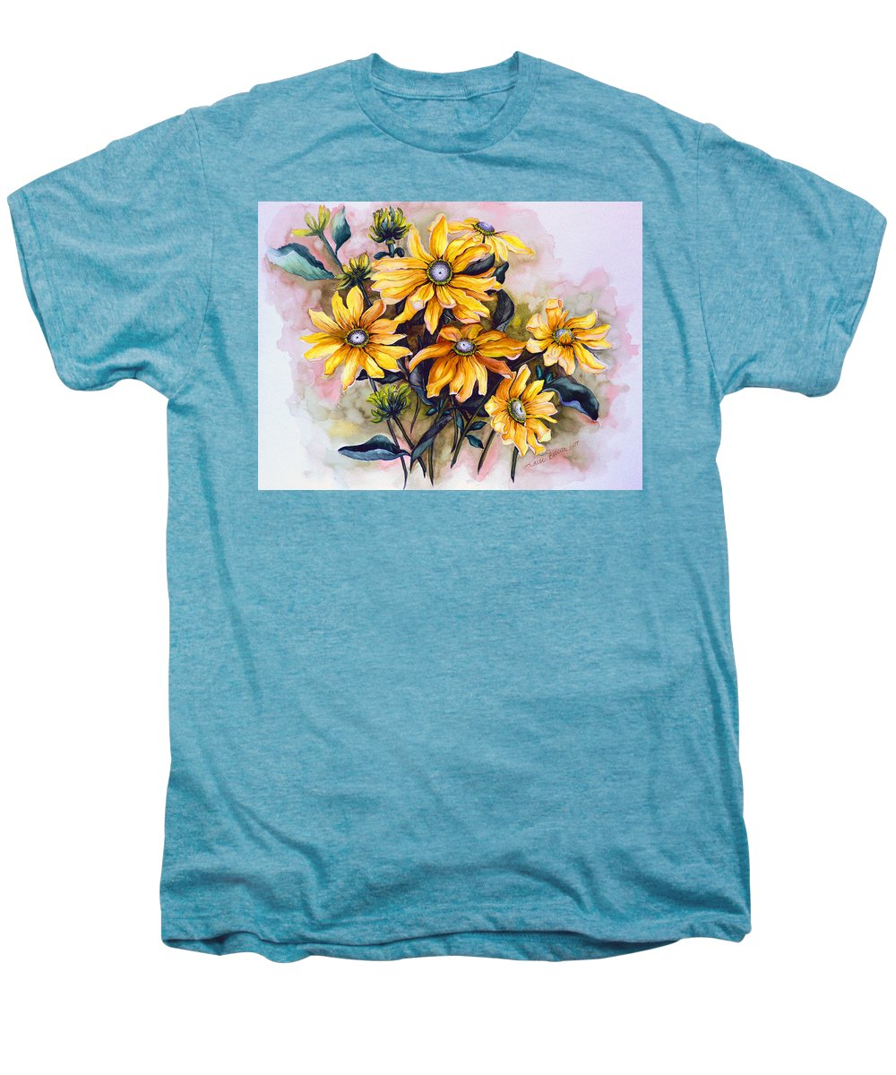 Flower Painting Sun Flower Painting Flower Botanical Painting  Original Watercolor Painting Rudebeckia Painting Floral Painting Yellow Painting Greeting Card Painting Men's Premium T-Shirt featuring the painting Rudbeckia Prairie Sun by Karin Dawn Kelshall- Best