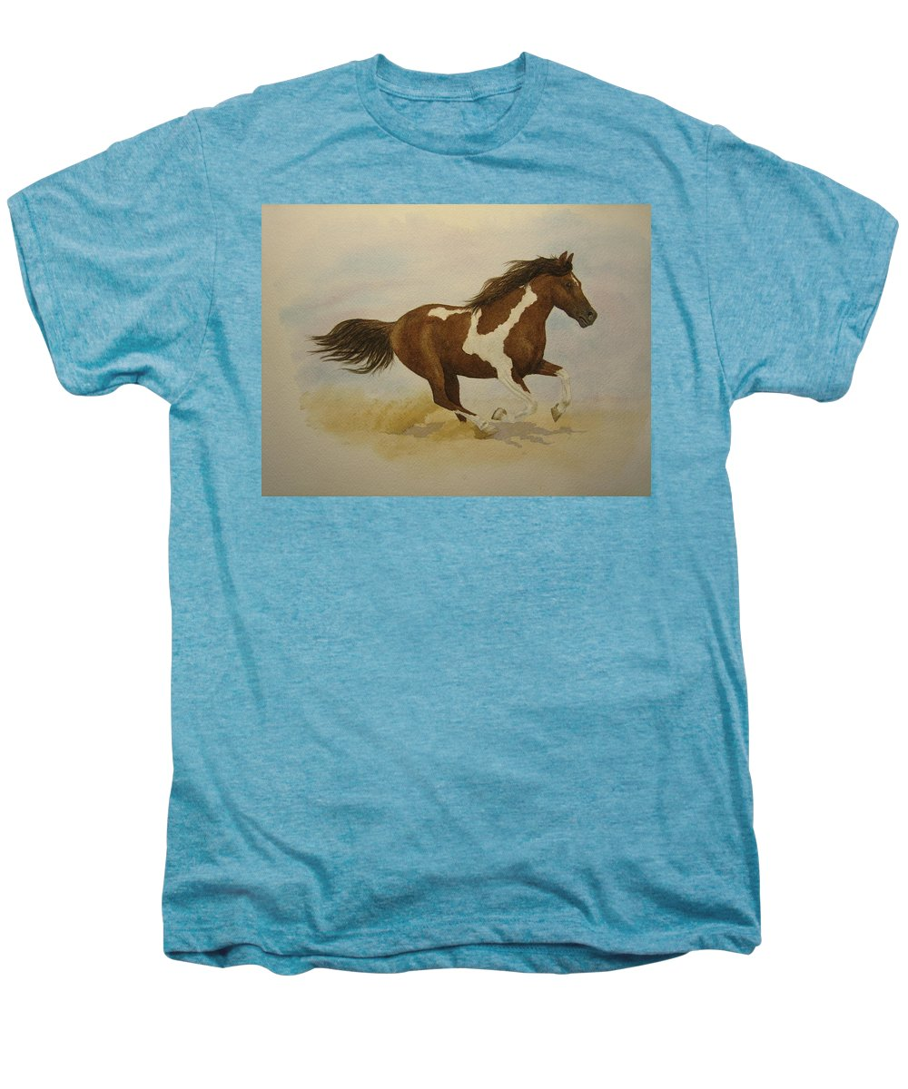 Paint Horse Men's Premium T-Shirt featuring the painting Running Paint by Jeff Lucas