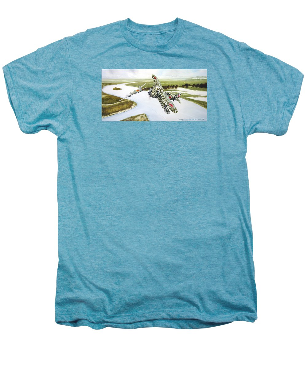 Aviation Men's Premium T-Shirt featuring the painting Russian Roulette by Marc Stewart