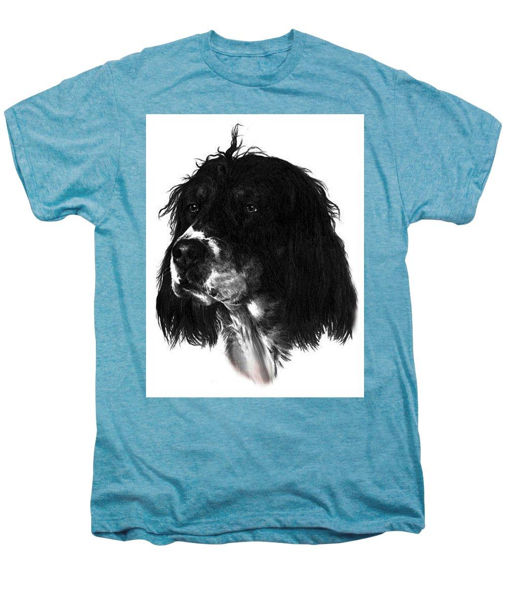Portrait Men's Premium T-Shirt featuring the drawing Sadie by Rachel Christine Nowicki