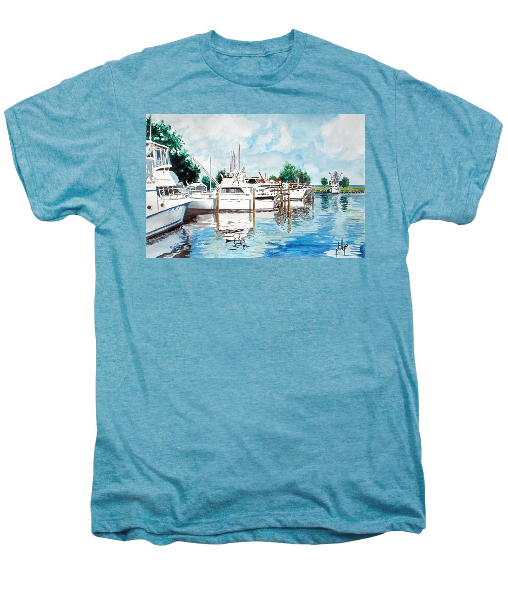 Boats Harbor Coastal Nautical Men's Premium T-Shirt featuring the painting Safe Harbor by Jim Phillips