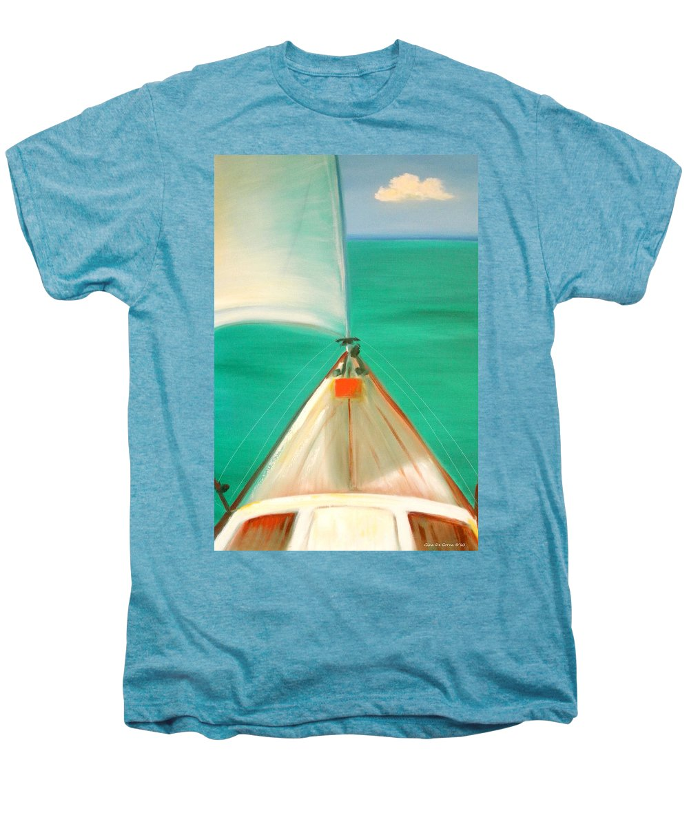 Sea Men's Premium T-Shirt featuring the painting Sailing by Gina De Gorna