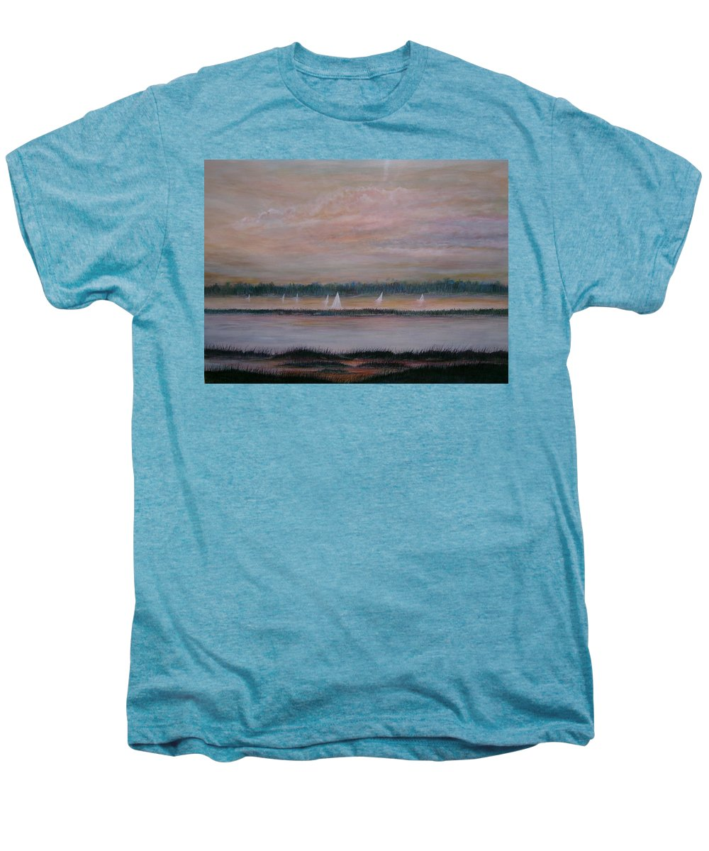 Sailboats; Marsh; Sunset Men's Premium T-Shirt featuring the painting Sails In The Sunset by Ben Kiger