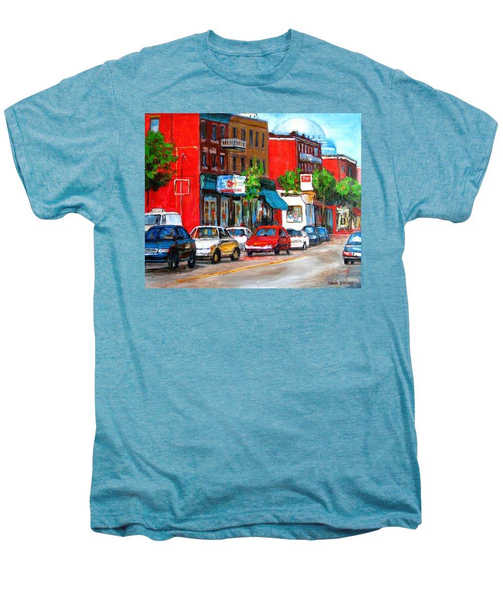 St.viateur Bagel Men's Premium T-Shirt featuring the painting Saint Viateur Street by Carole Spandau
