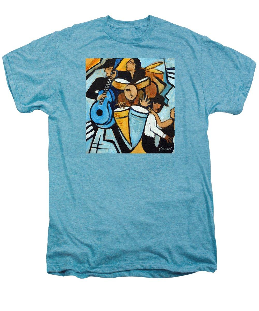 Cubist Salsa Dancers Men's Premium T-Shirt featuring the painting Salsa Night by Valerie Vescovi