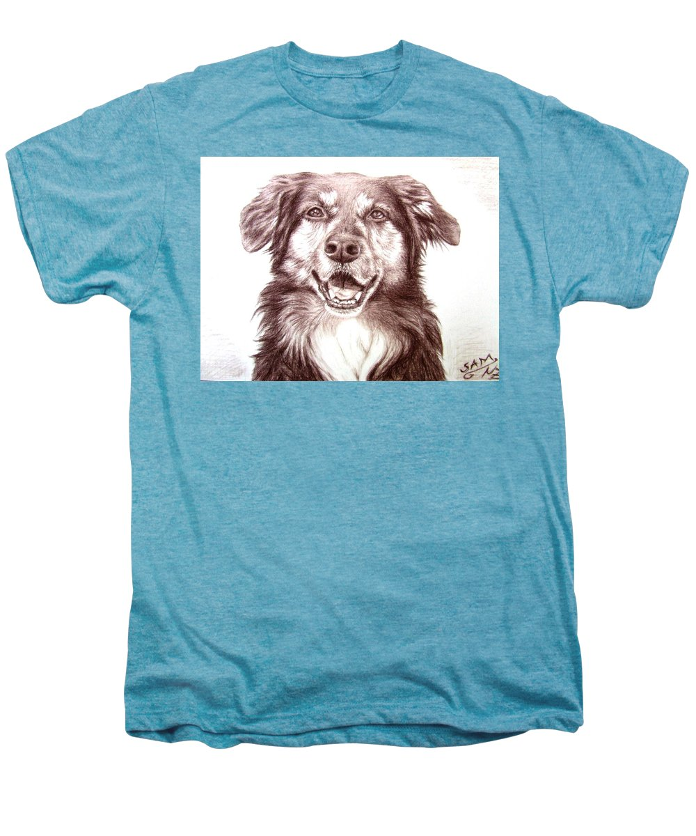 Dog Men's Premium T-Shirt featuring the drawing Sam by Nicole Zeug