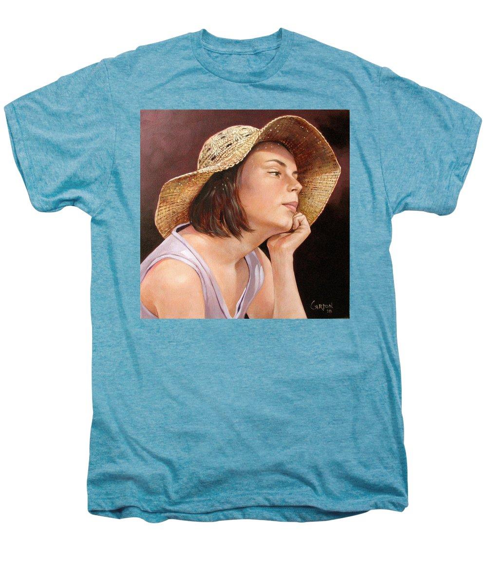 Portrait Men's Premium T-Shirt featuring the painting Sammie by Jerrold Carton
