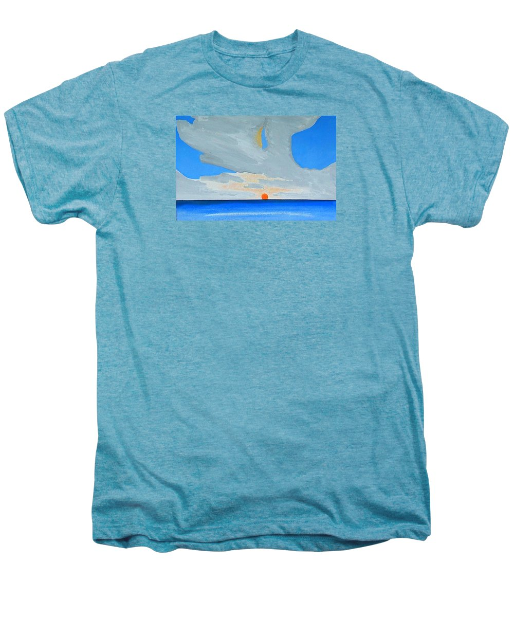 Sunrise Seascape Men's Premium T-Shirt featuring the painting San Juan Sunrise by Dick Sauer