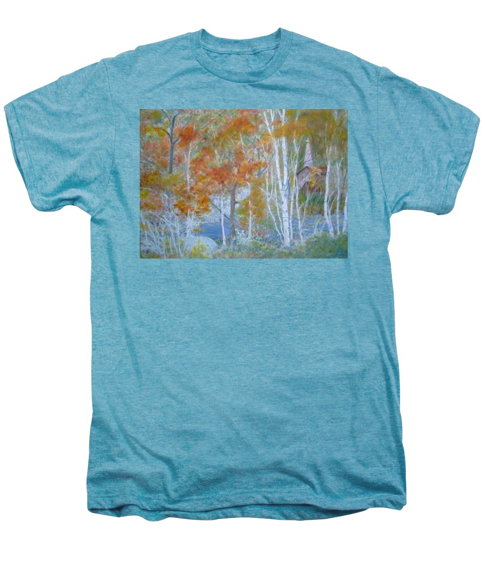 Church; Landscape; Birch Trees Men's Premium T-Shirt featuring the painting Sanctuary by Ben Kiger