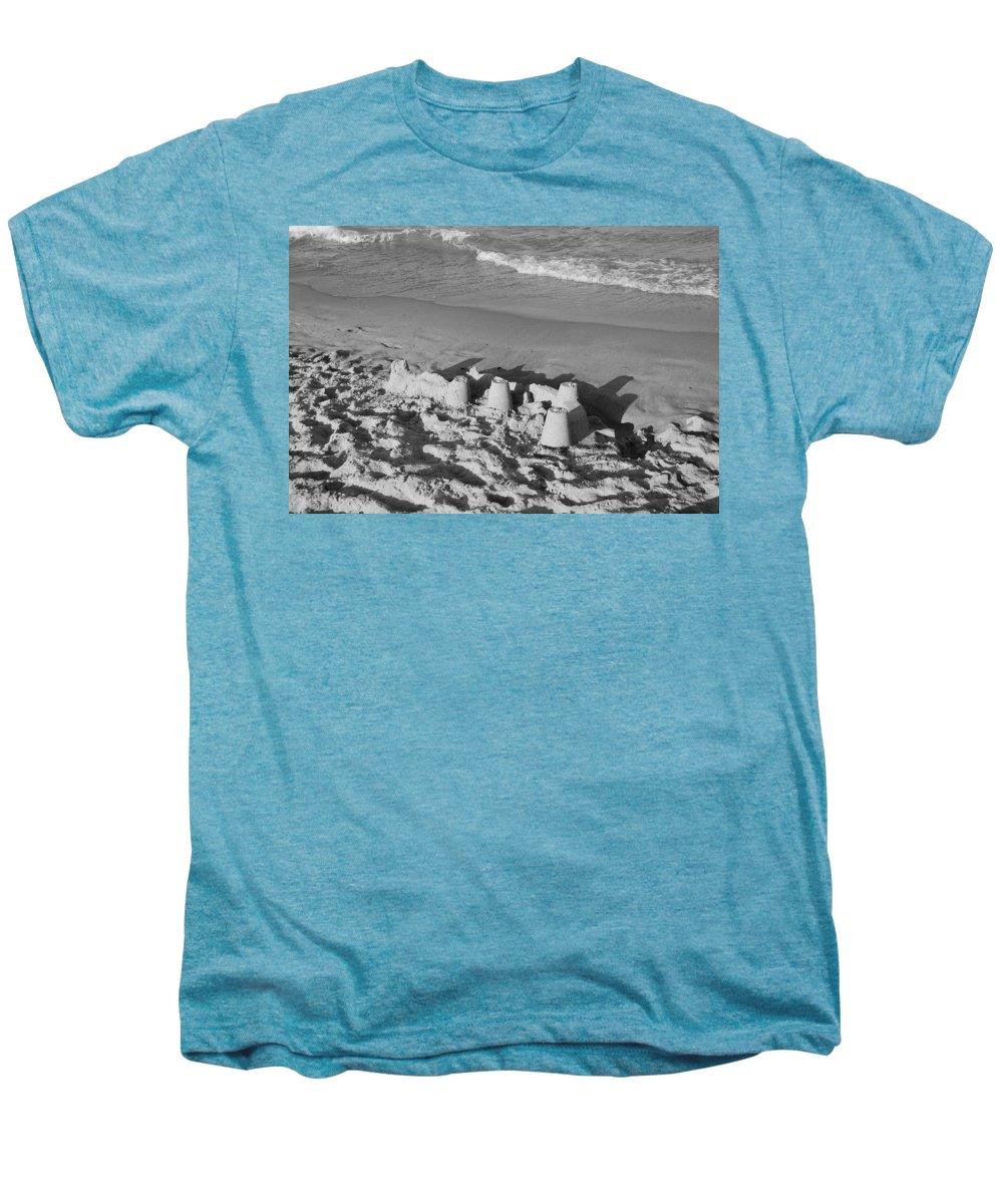 Sea Scape Men's Premium T-Shirt featuring the photograph Sand Castles By The Shore by Rob Hans