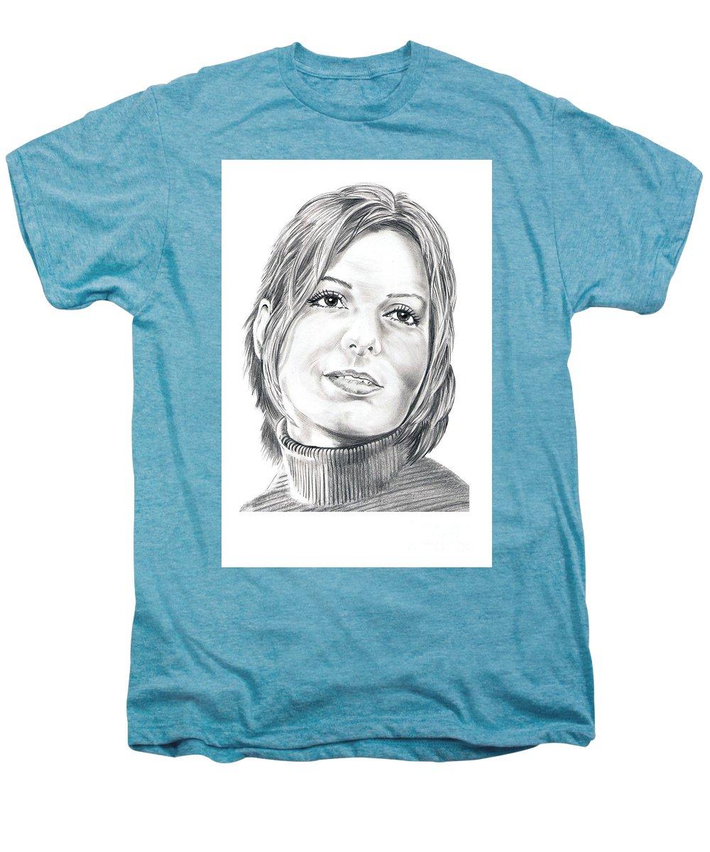 Drawing Men's Premium T-Shirt featuring the drawing Sandra Bullock by Murphy Elliott
