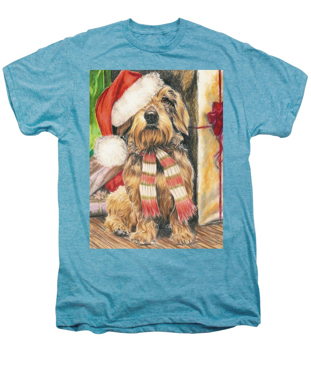Dogs Men's Premium T-Shirt featuring the drawing Santas Little Yelper by Barbara Keith