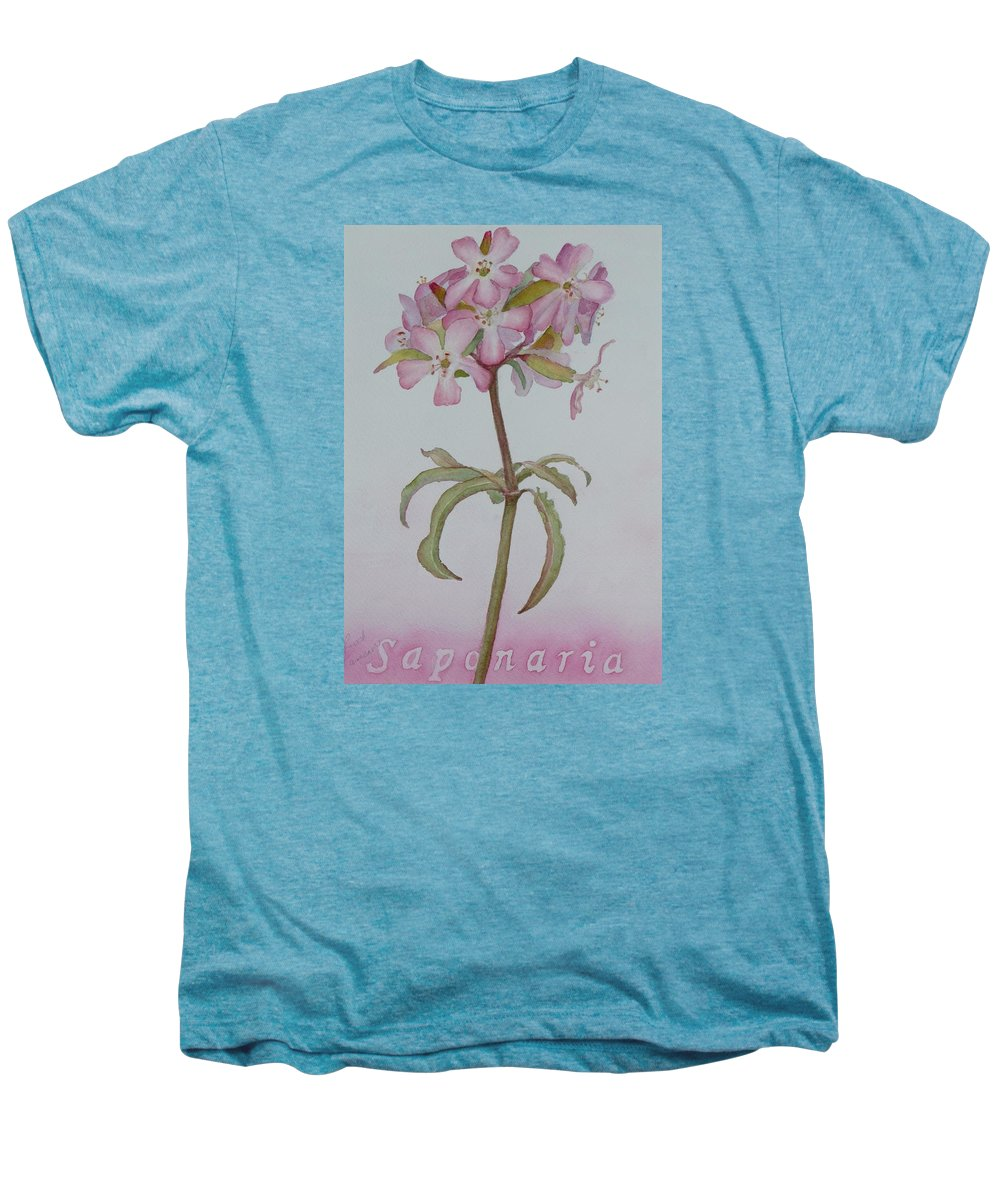 Flower Men's Premium T-Shirt featuring the painting Saponaria by Ruth Kamenev