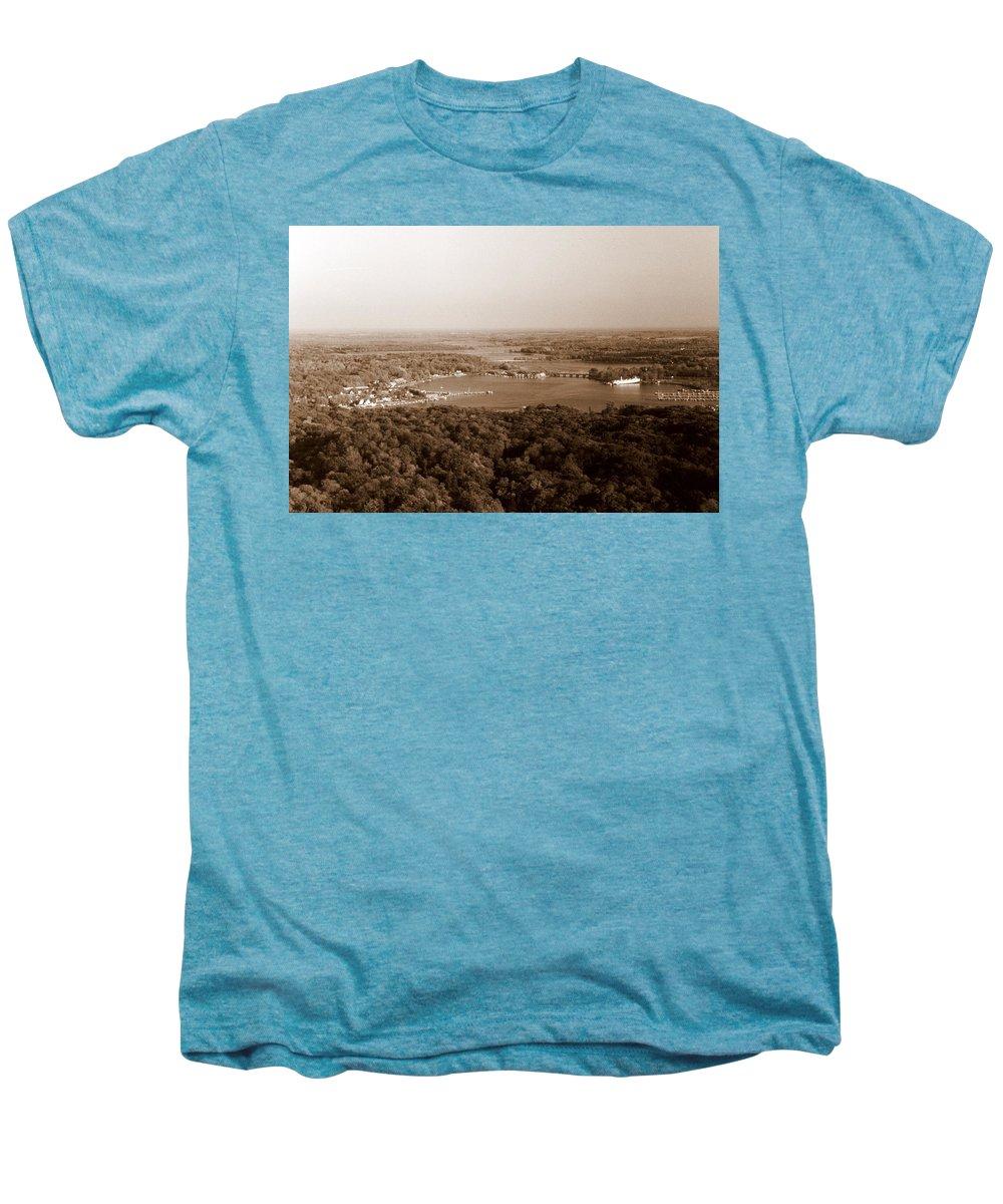 Saugatuck Men's Premium T-Shirt featuring the photograph Saugatuck Michigan Harbor Aerial Photograph by Michelle Calkins