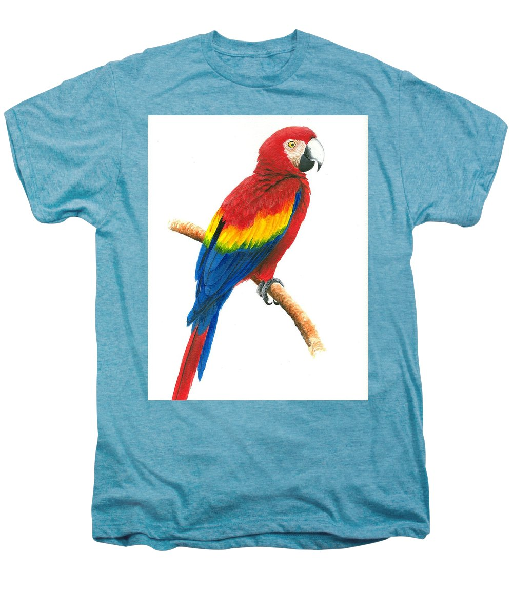 Chris Cox Men's Premium T-Shirt featuring the painting Scarlet Macaw by Christopher Cox