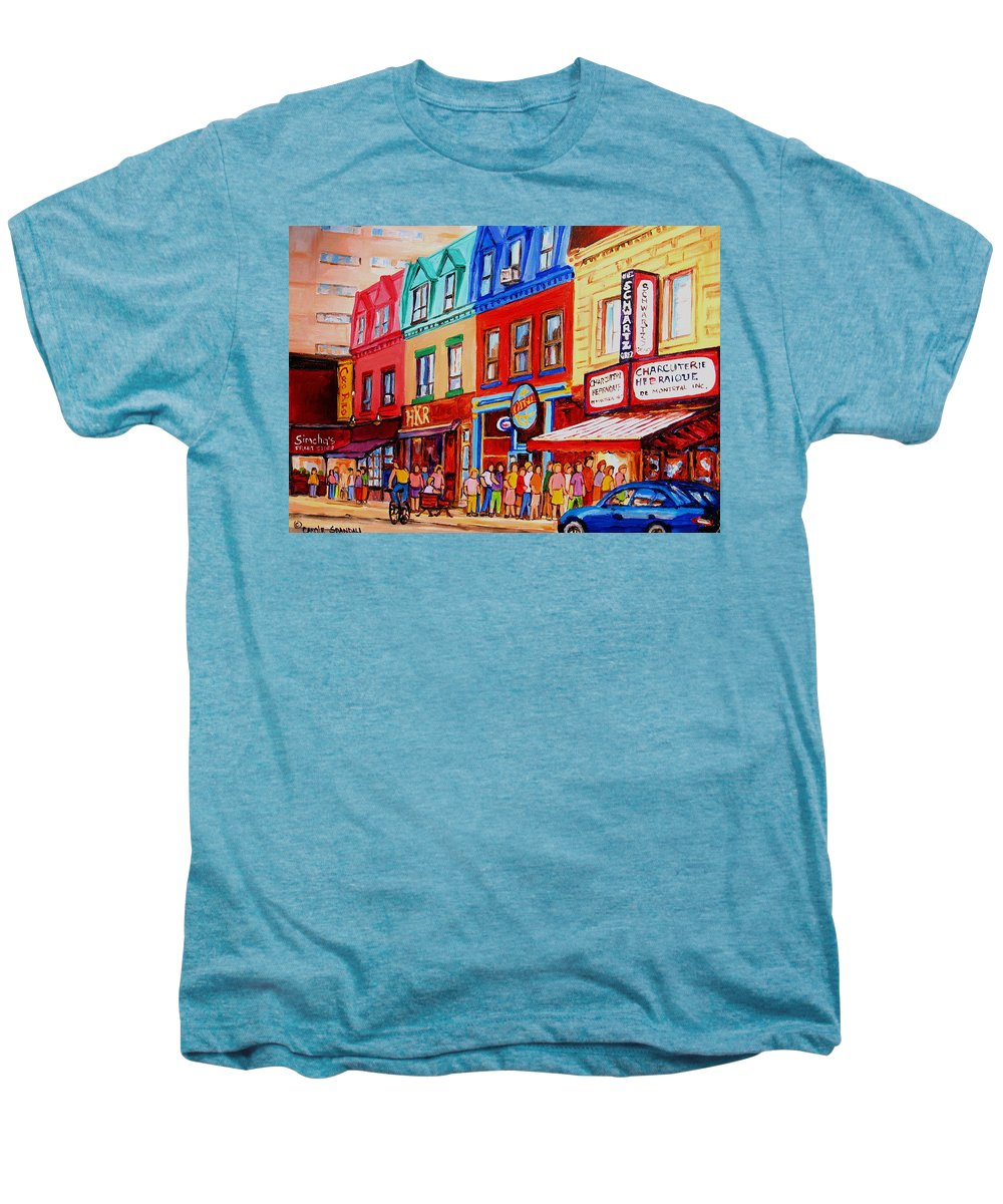 Cityscape Men's Premium T-Shirt featuring the painting Schwartz Lineup With Simcha by Carole Spandau