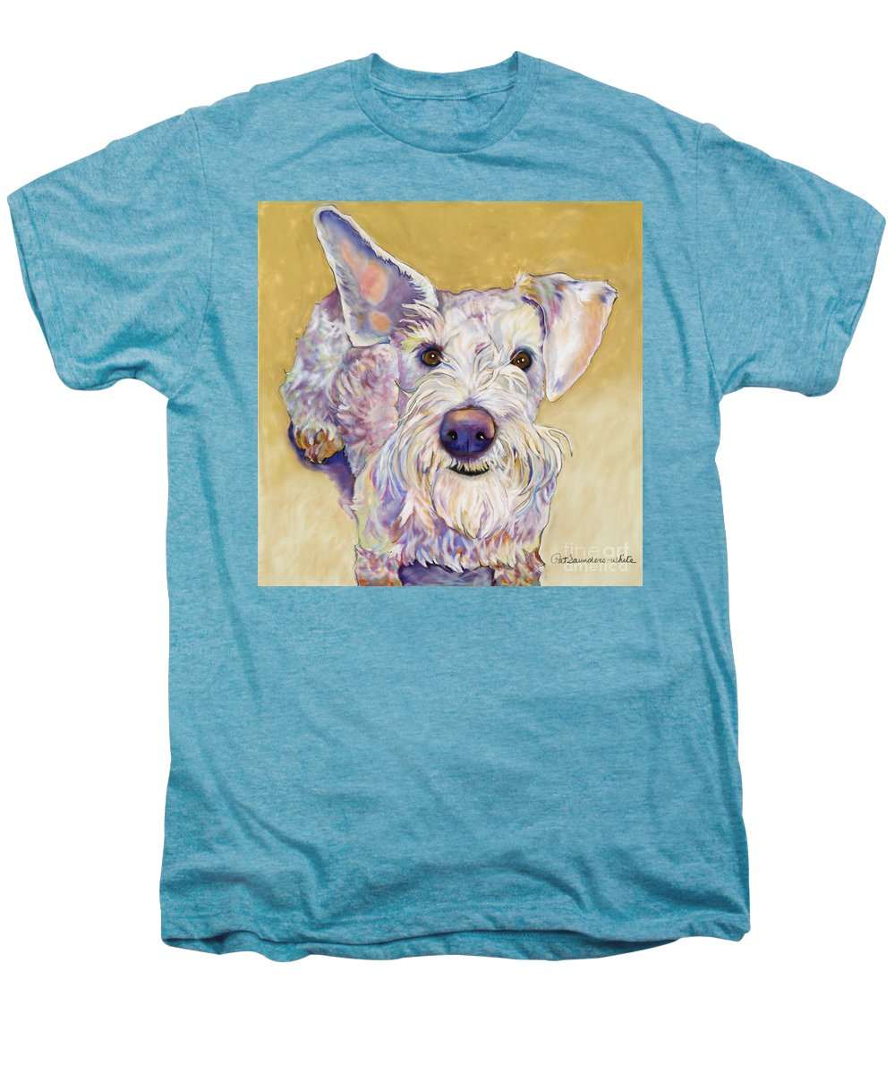 Schnauzer Men's Premium T-Shirt featuring the pastel Scooter by Pat Saunders-White