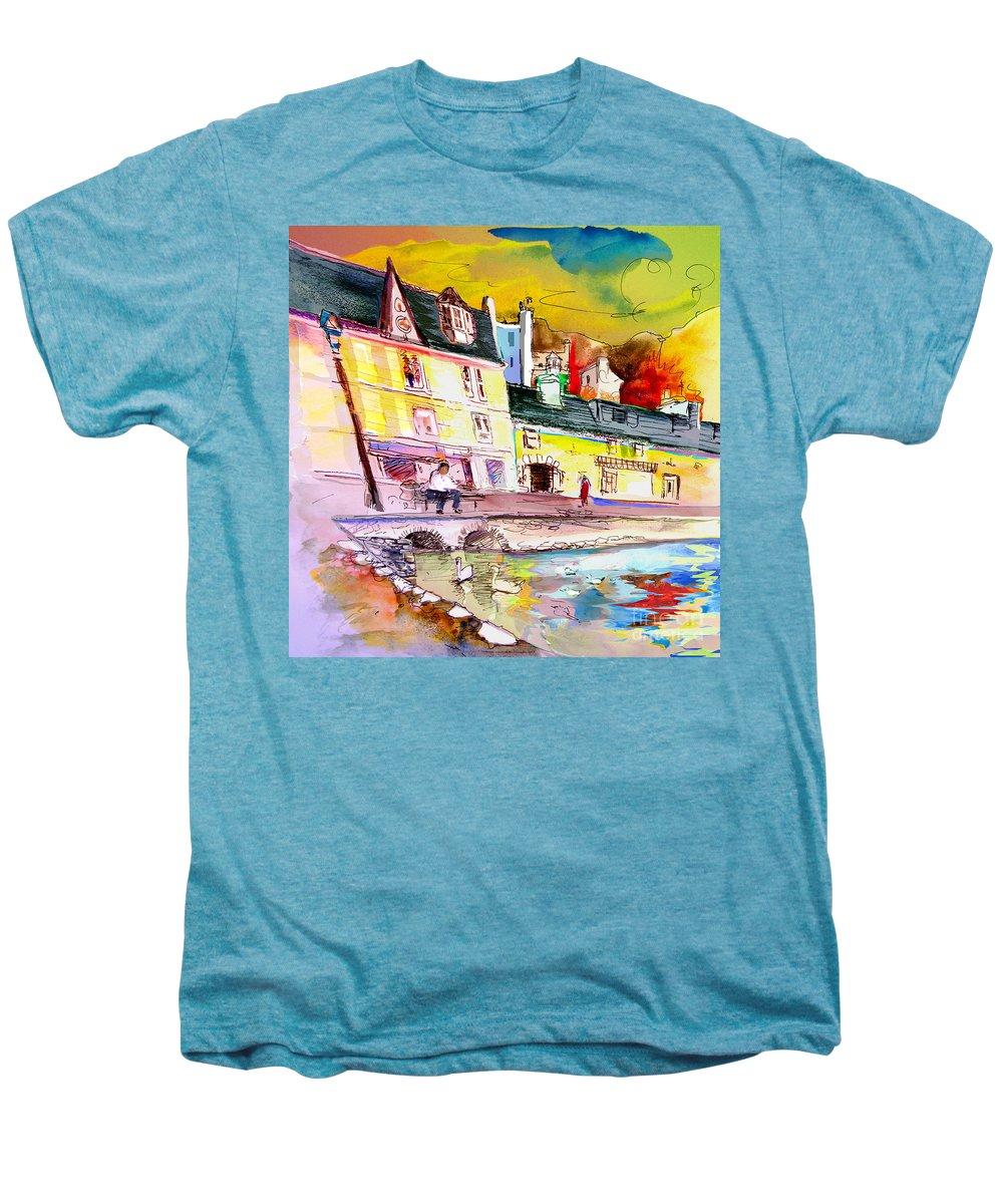 Scotland Paintings Men's Premium T-Shirt featuring the painting Scotland 04 by Miki De Goodaboom