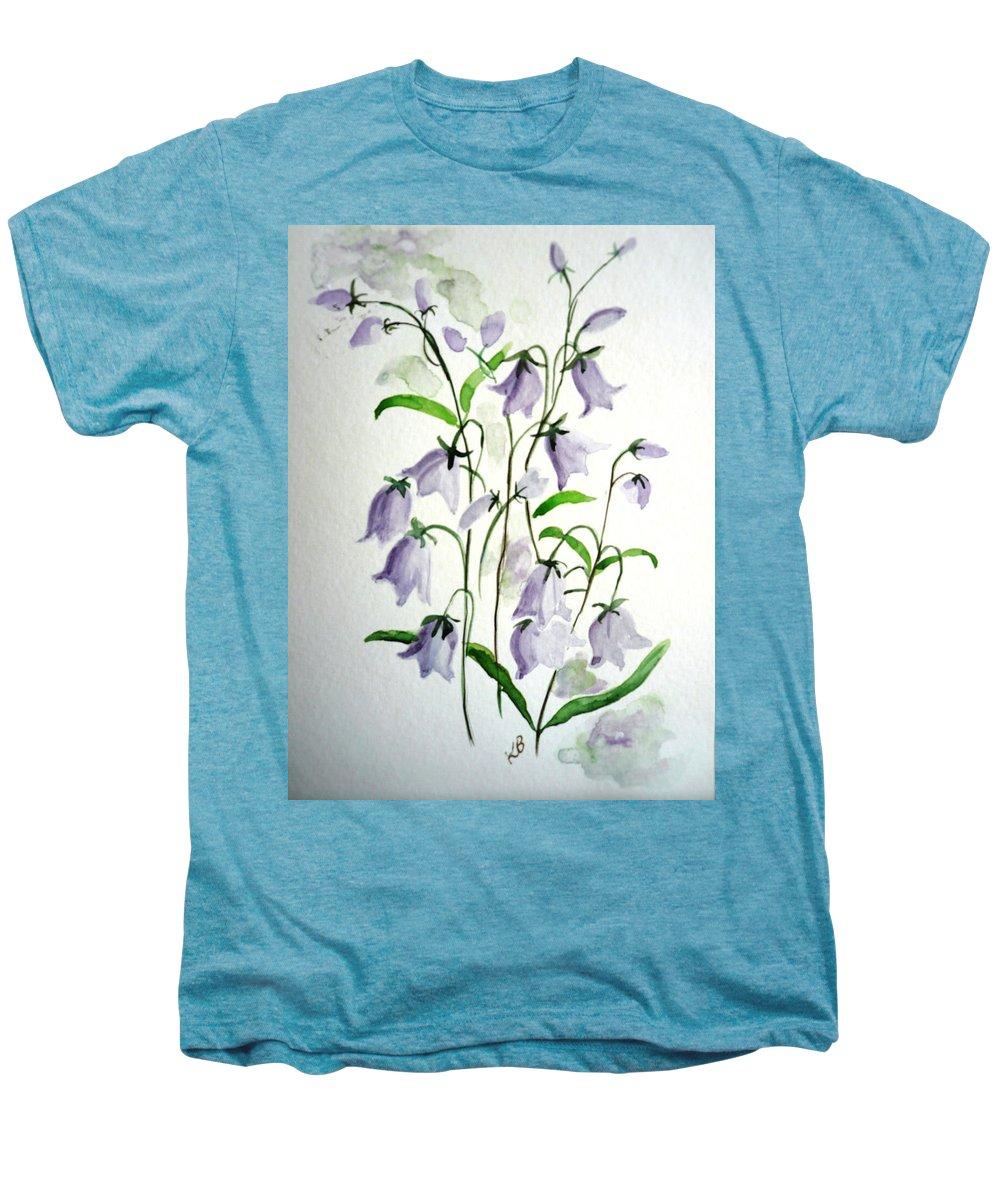 Blue Bells Hare Bells Purple Flower Flora Men's Premium T-Shirt featuring the painting Scottish Blue Bells by Karin Dawn Kelshall- Best