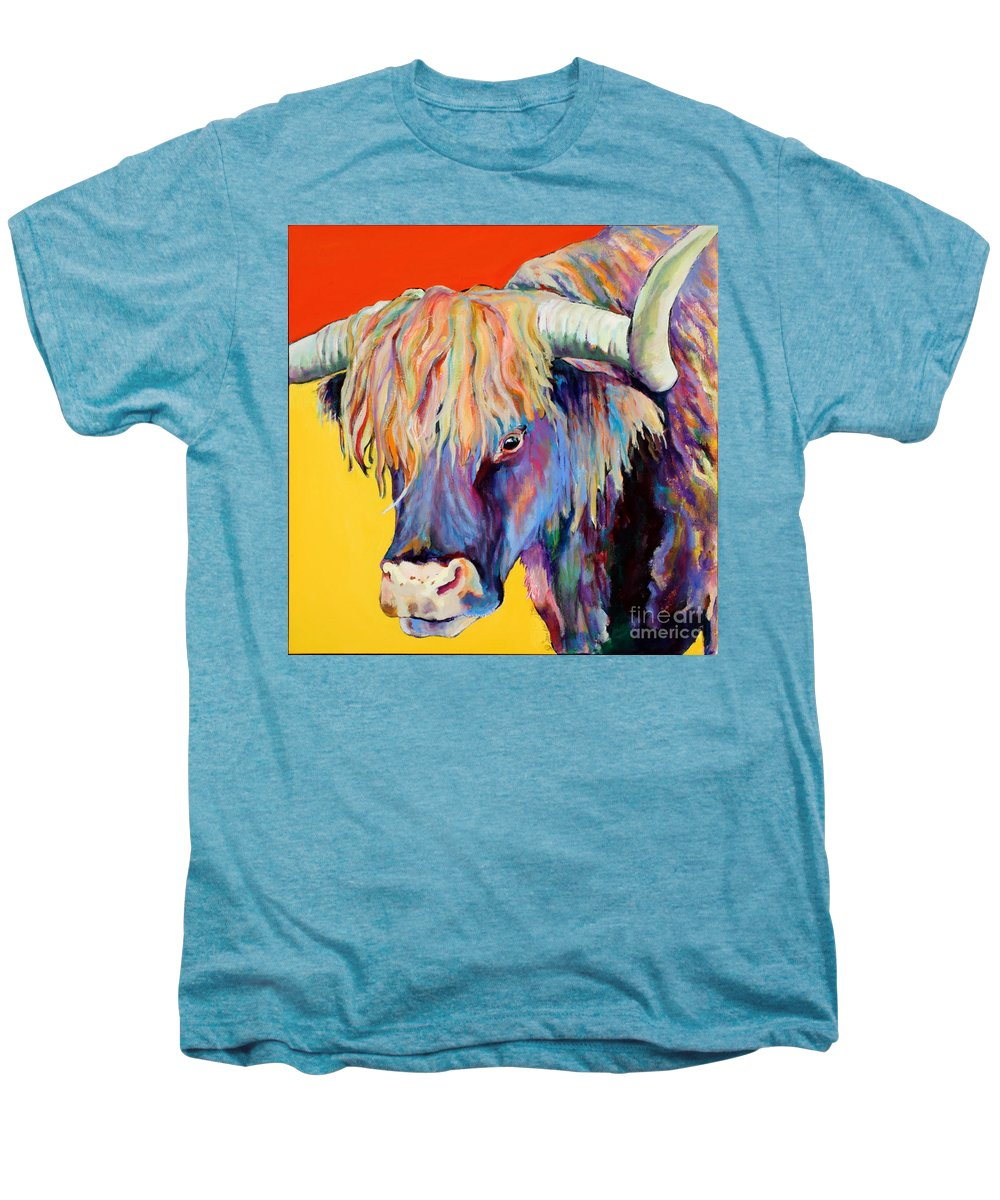 Farm Animal Men's Premium T-Shirt featuring the painting Scotty by Pat Saunders-White