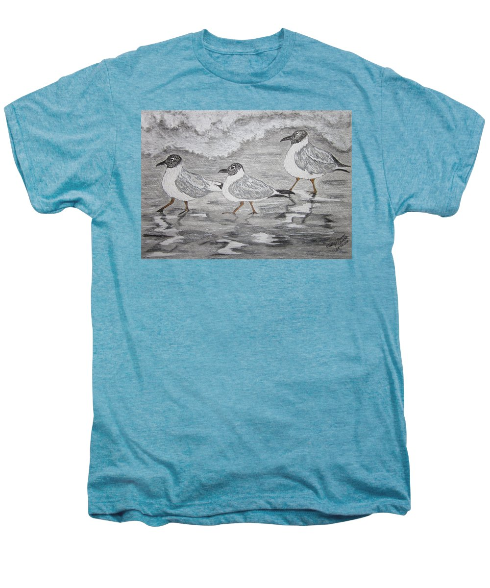 Sea Gulls Men's Premium T-Shirt featuring the painting Sea Gulls Dodging The Ocean Waves by Kathy Marrs Chandler