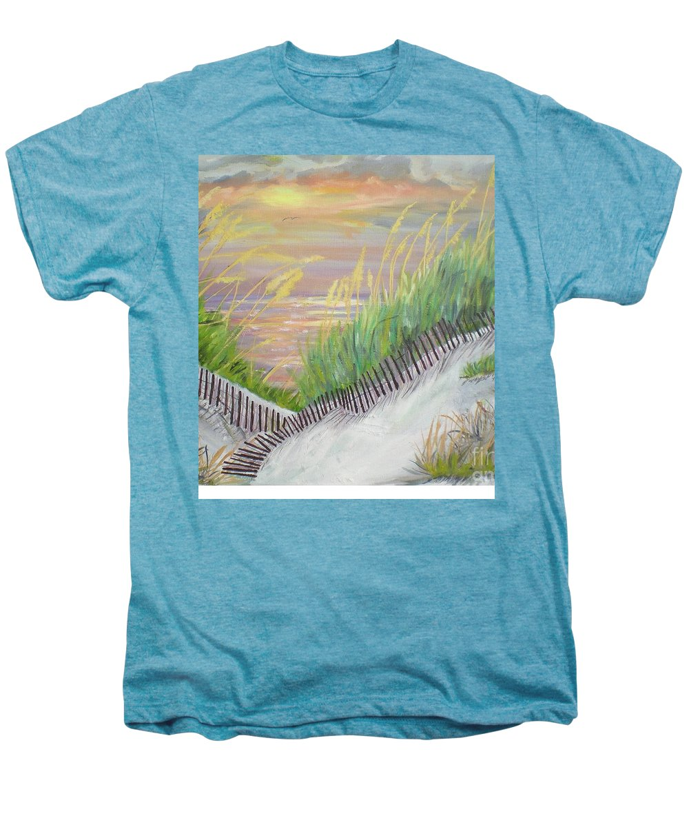 Seascape Men's Premium T-Shirt featuring the painting Sea Oats by Hal Newhouser