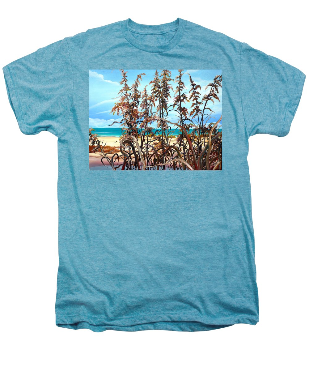 Ocean Painting Sea Oats Painting Beach Painting Seascape Painting Beach Painting Florida Painting Greeting Card Painting Men's Premium T-Shirt featuring the painting Sea Oats by Karin Dawn Kelshall- Best