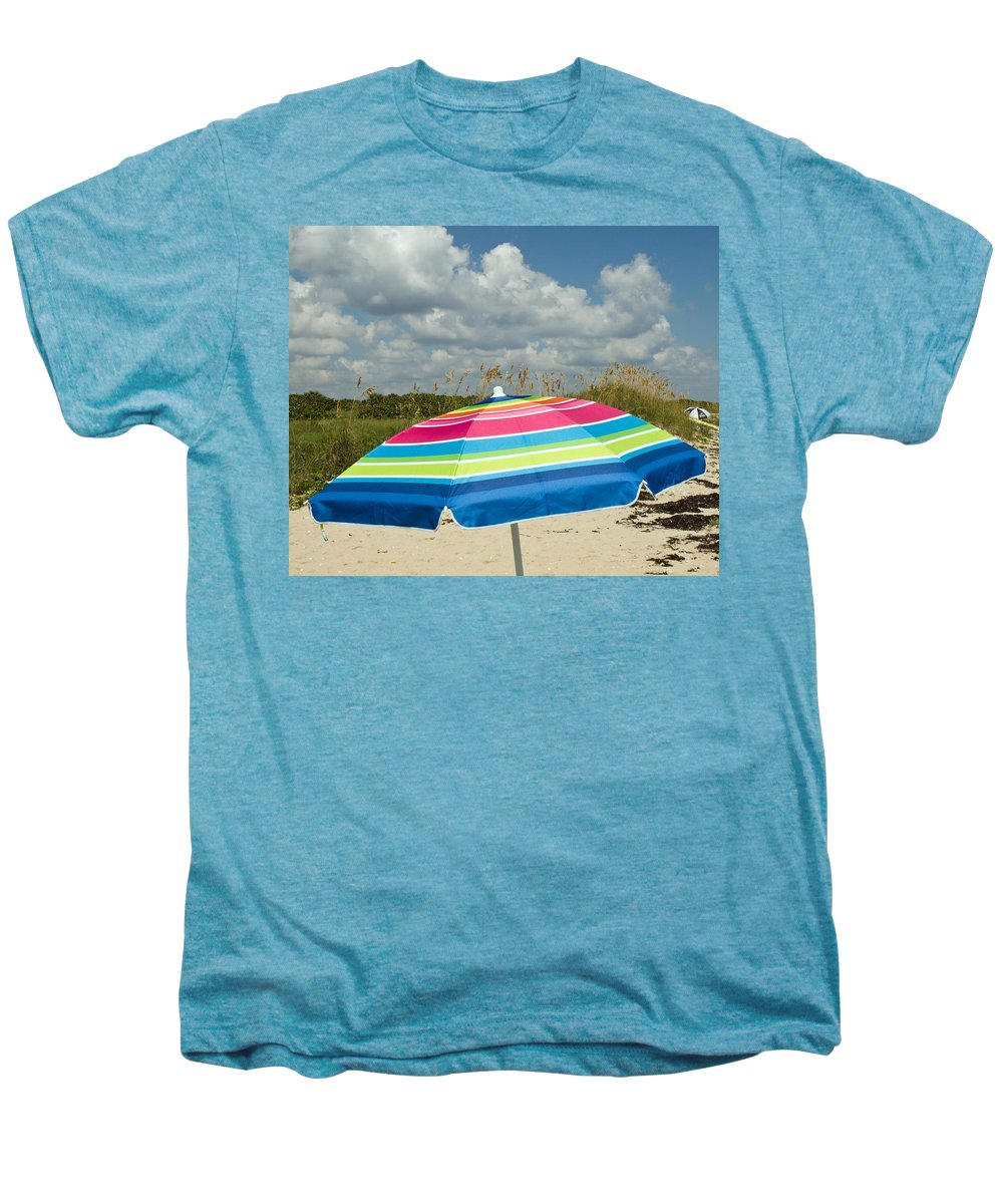 Florida; Beach; Coast; Shore; Atlantic; East; Waves; Sand; Dunes; Sea; Oats; Seaoats; Plant; Grass; Men's Premium T-Shirt featuring the photograph Sea Oats On The Beach by Allan Hughes