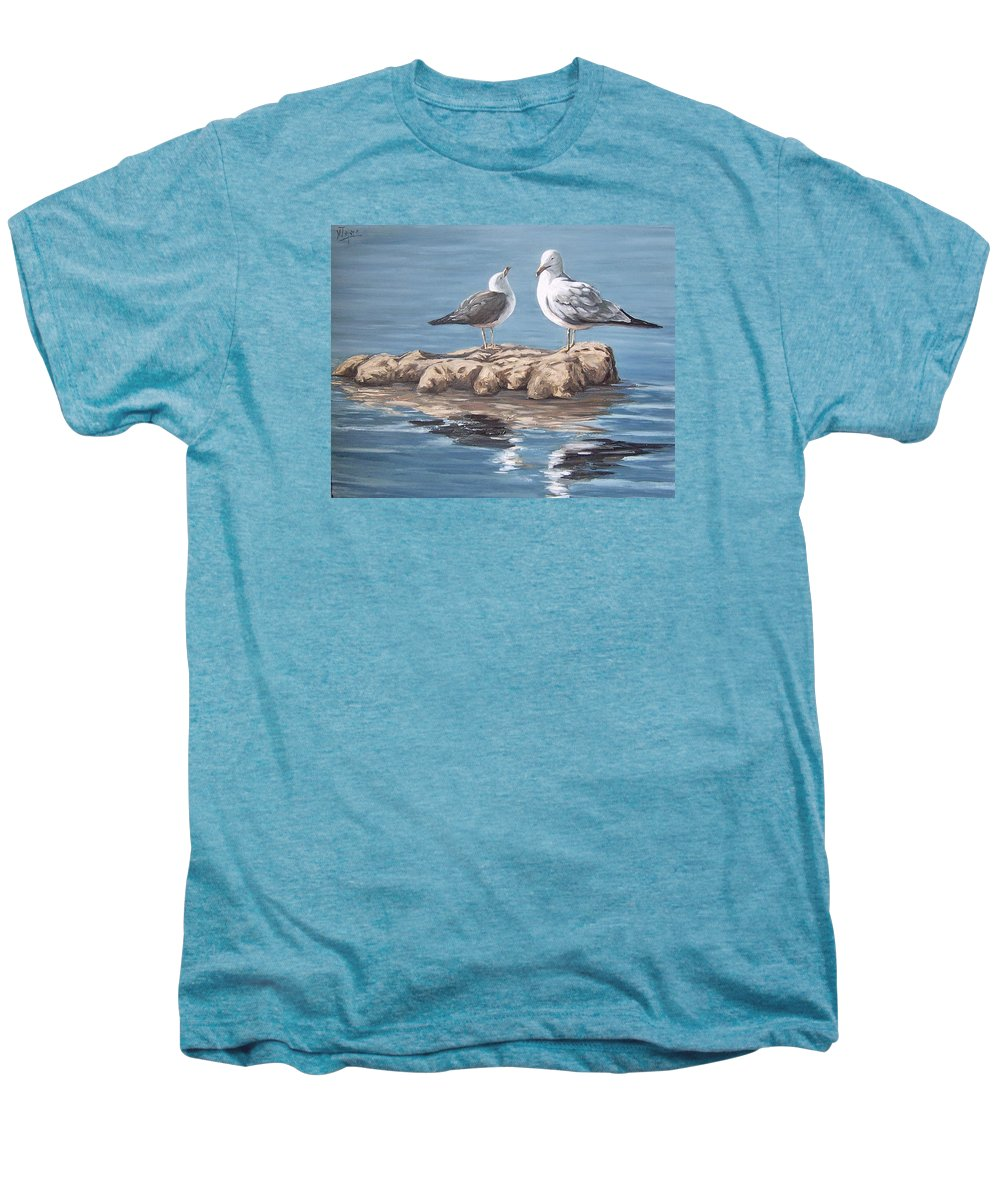 Seagulls Sea Seascape Water Bird Men's Premium T-Shirt featuring the painting Seagulls In The Sea by Natalia Tejera