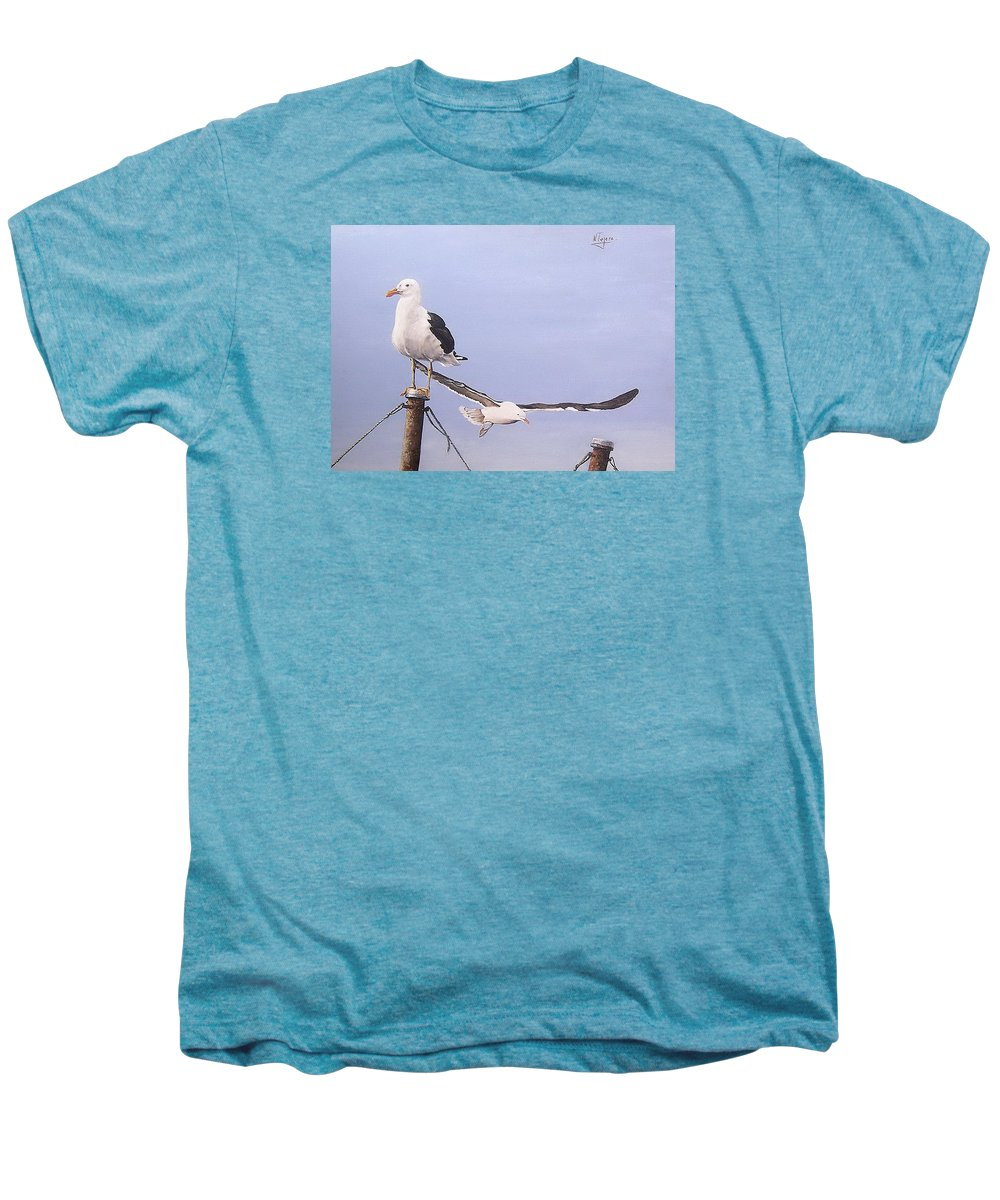 Seascape Gulls Bird Sea Men's Premium T-Shirt featuring the painting Seagulls by Natalia Tejera