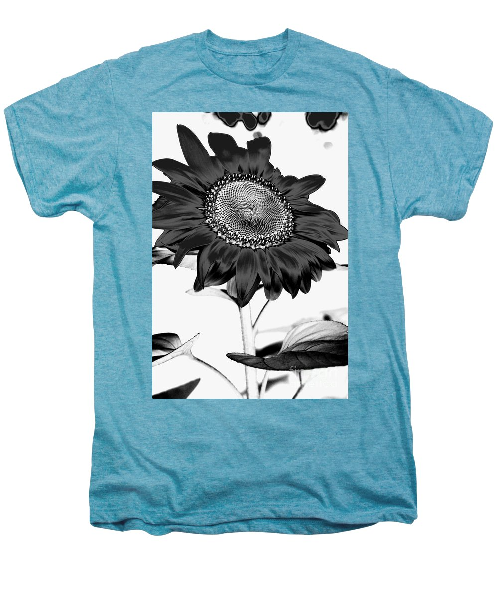 Black And White Photography Men's Premium T-Shirt featuring the photograph Seattle Sunflower Bw Invert - Stronger by Heather Kirk