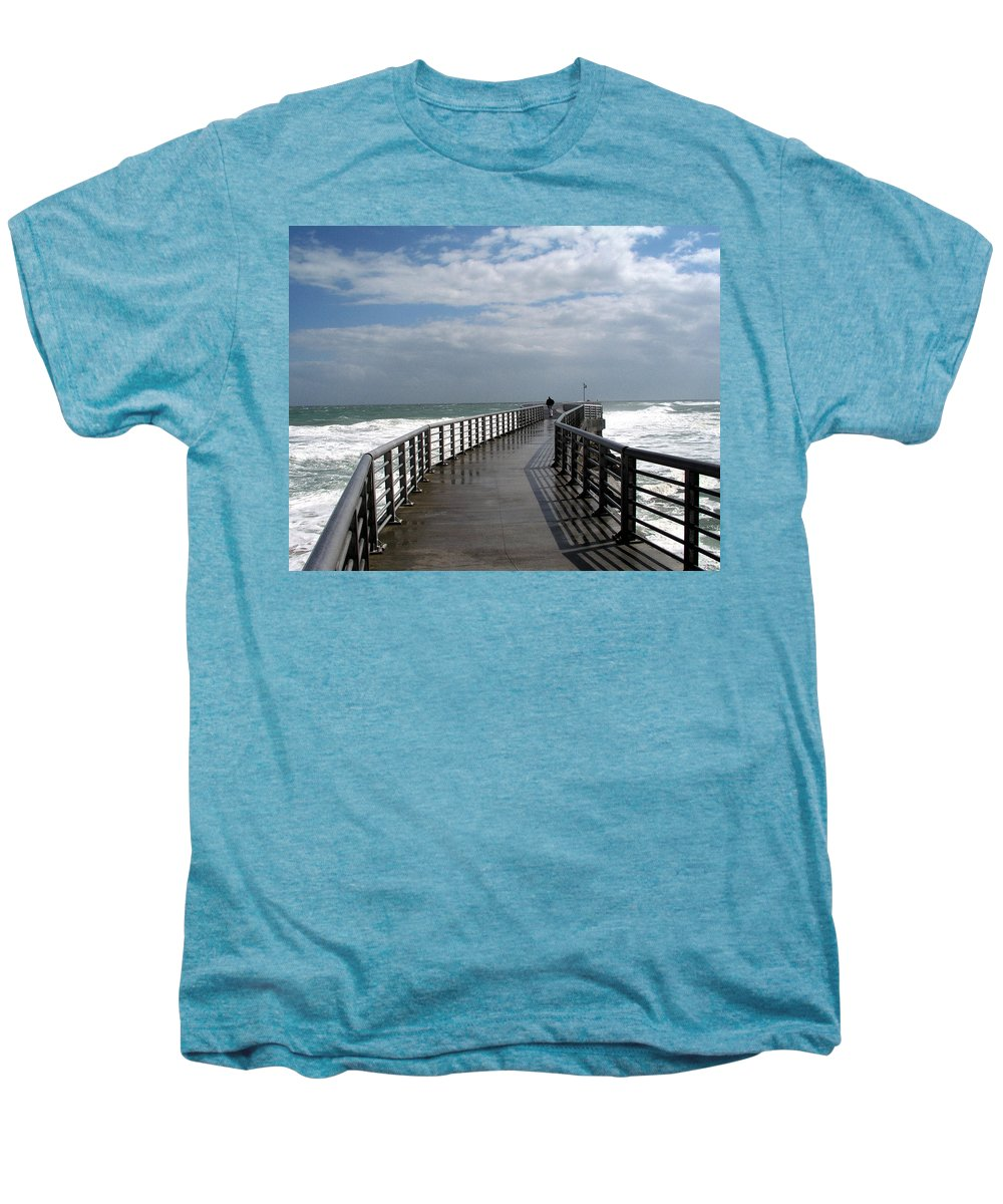 Walk; Solitary; Lonely; Sebastian; Inlet; Florida; Sea; Ocean; Water; Surf; Atlantic; Jetty; Waves; Men's Premium T-Shirt featuring the photograph Sebastian Inlet On The Atlantic Coast Of Florida by Allan Hughes