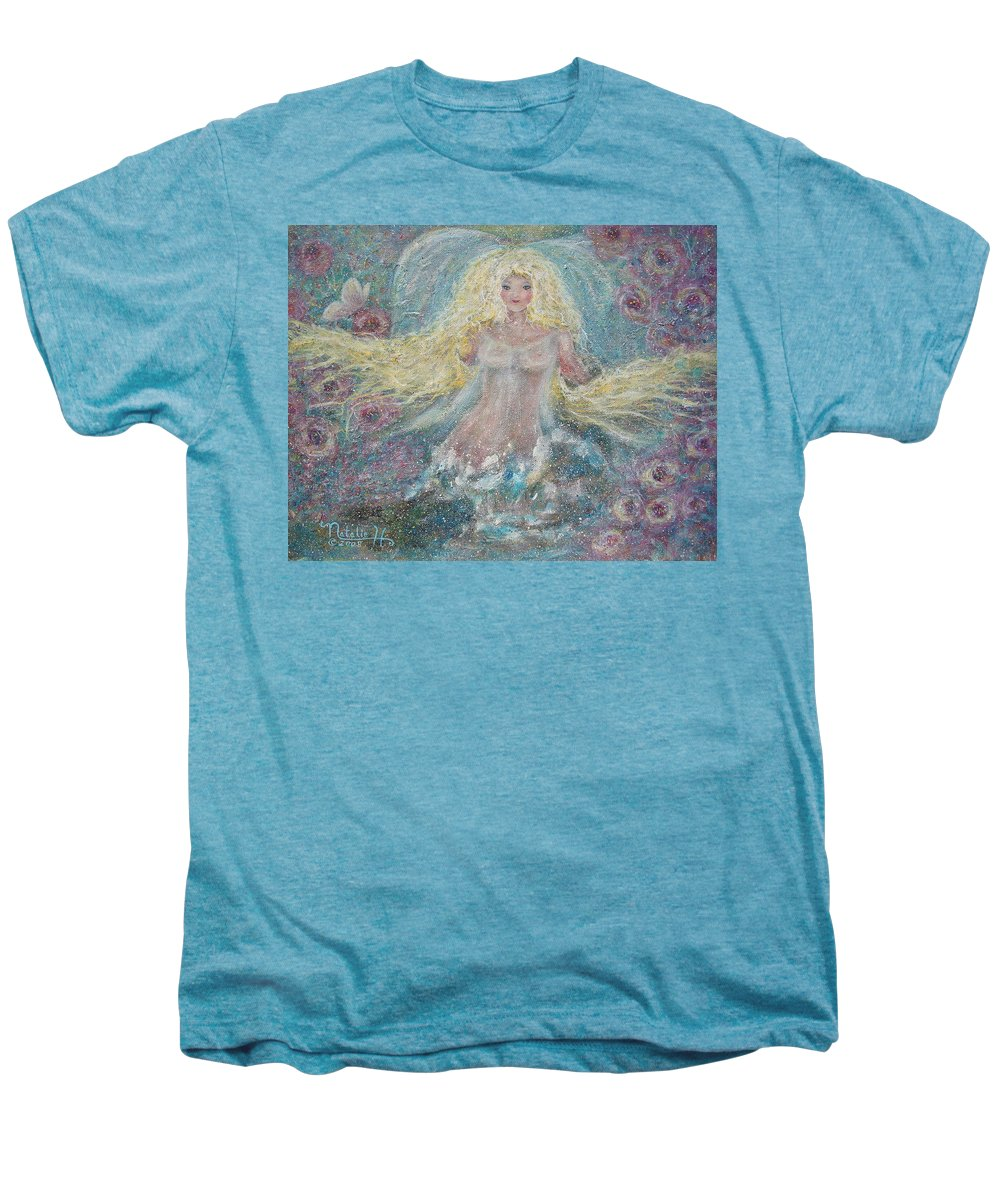 Angel Men's Premium T-Shirt featuring the painting Secret Garden Angel 3 by Natalie Holland