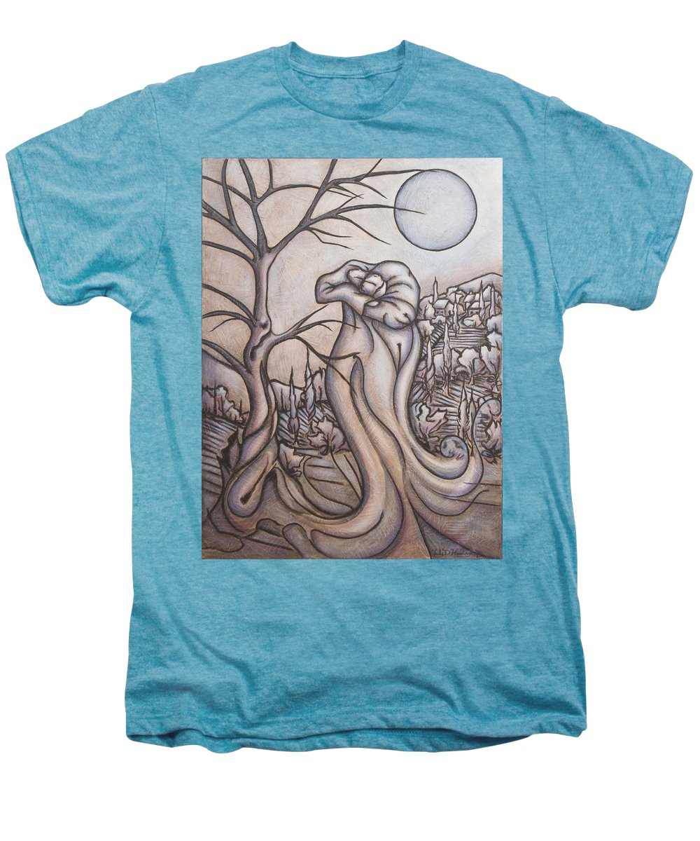 Dream. Moon Men's Premium T-Shirt featuring the painting Secrets And Dreams by Judy Henninger