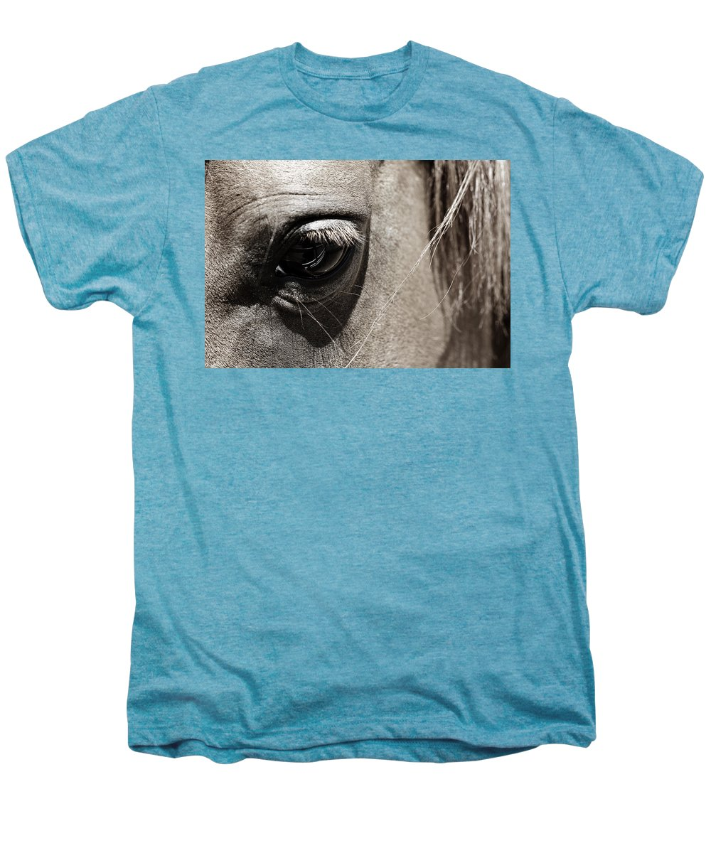Americana Men's Premium T-Shirt featuring the photograph Stillness In The Eye Of A Horse by Marilyn Hunt