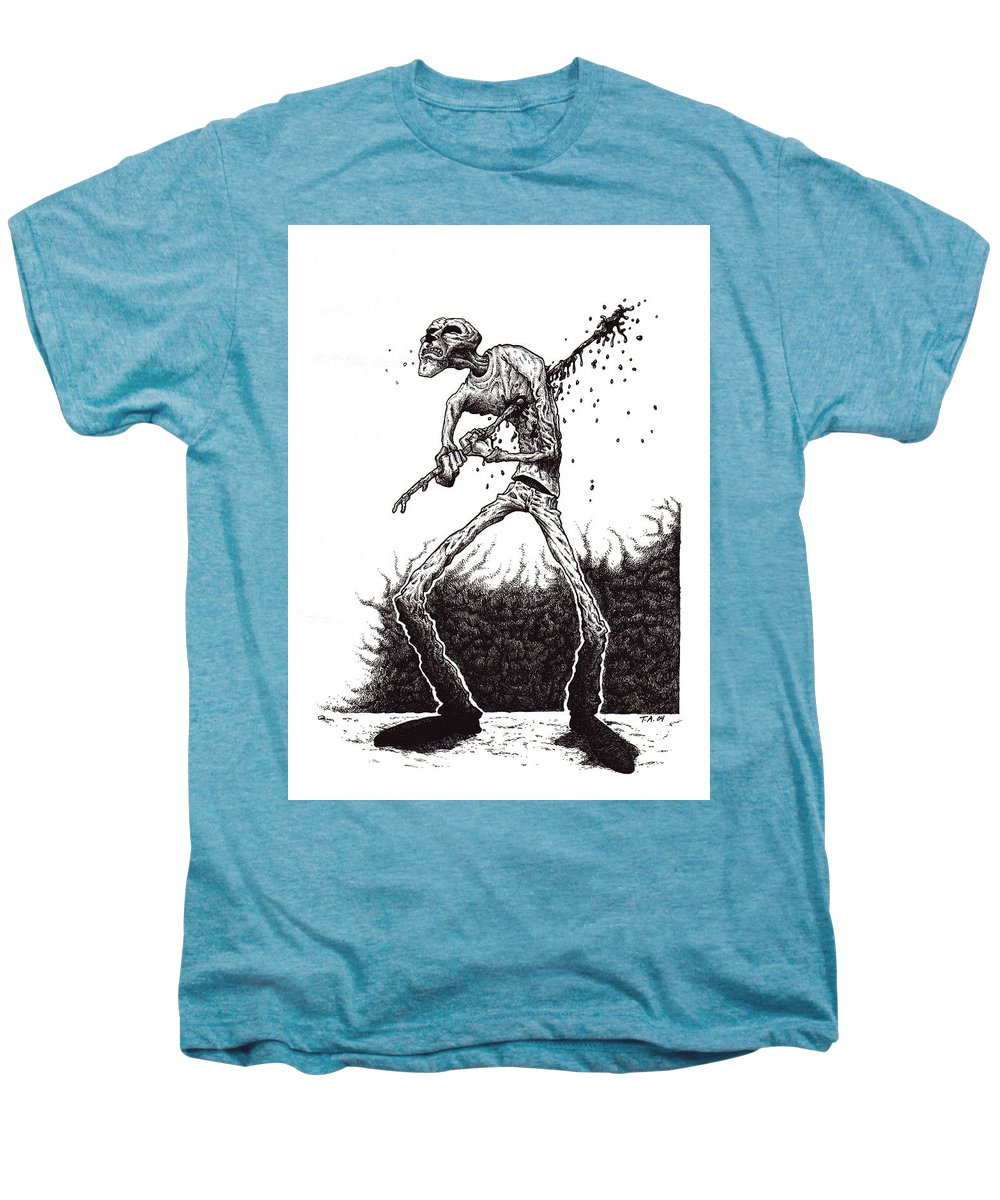 Dark Men's Premium T-Shirt featuring the drawing Self Inflicted by Tobey Anderson