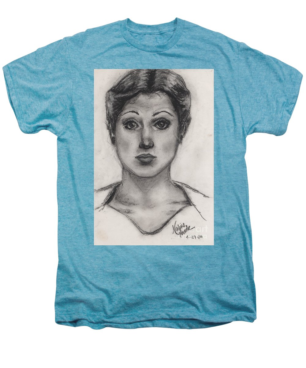 Nadine Men's Premium T-Shirt featuring the drawing Self Portrait At Age 18 by Nadine Rippelmeyer