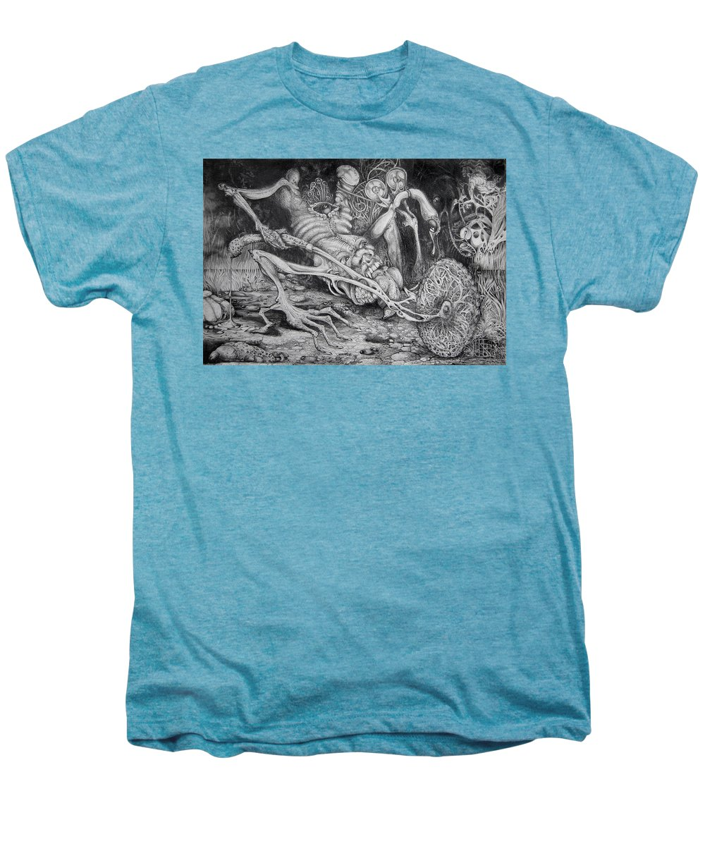 Surrealism Men's Premium T-Shirt featuring the drawing Selfpropelled Beastie Seeder by Otto Rapp