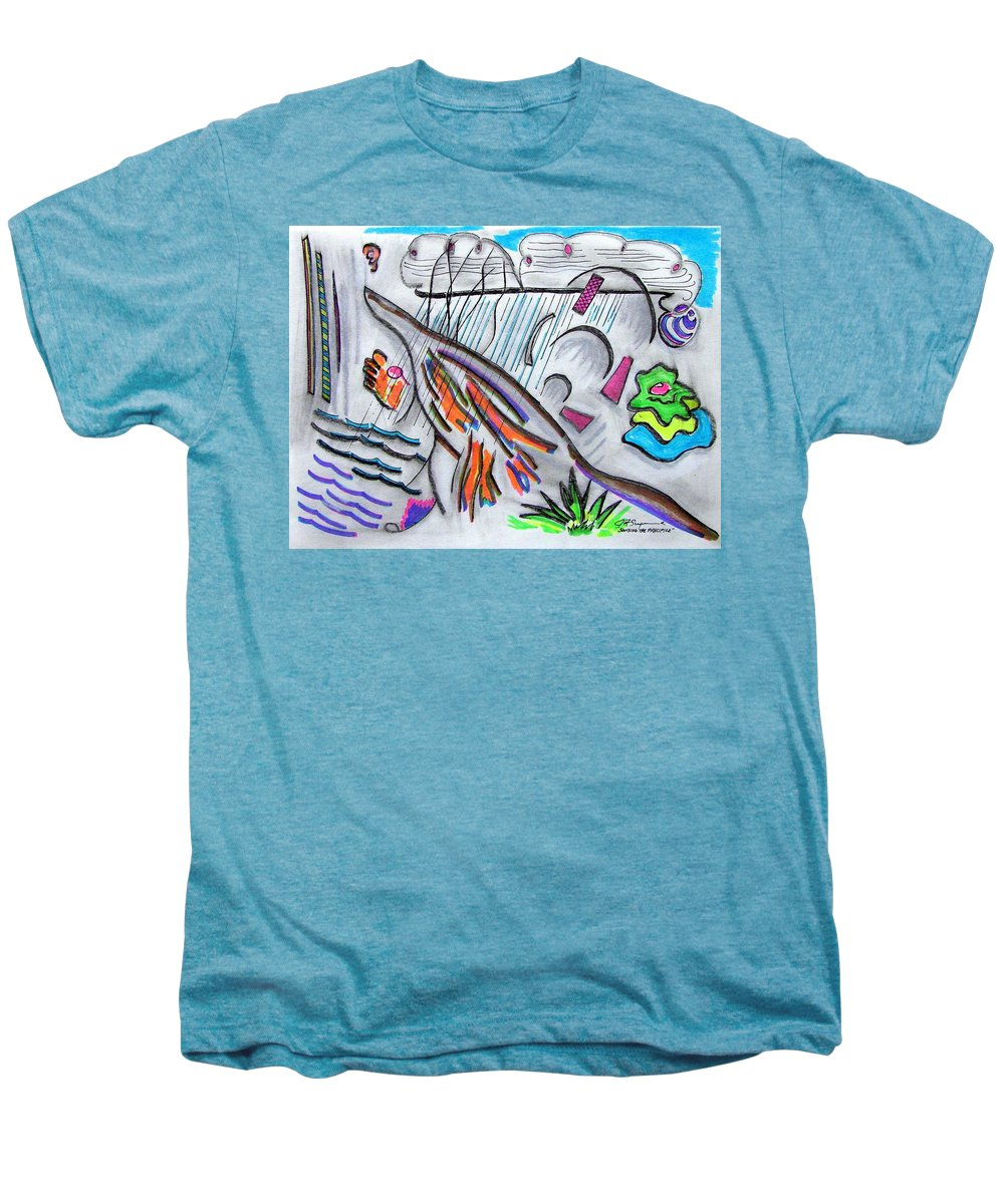 Abstract Drawing Men's Premium T-Shirt featuring the drawing Sensing The Precipice by J R Seymour