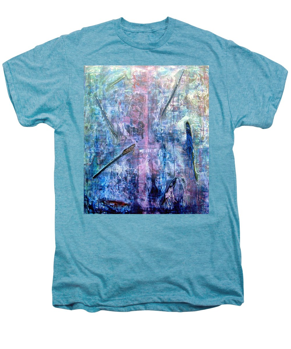 Abstract Men's Premium T-Shirt featuring the painting Seven Zippers by Nancy Mueller